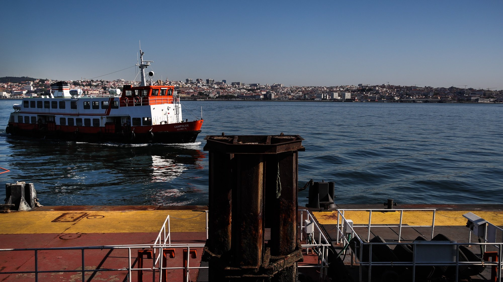 A ferryboat 'cacilheiro' crosses the Tejo River towards Cacilhas, Almada, Portugal, 20 May 2020. Public transportation has been strengthened with the entry of the second phase of deconfinement due to the covid-19 pandemic, despite this, careers are still short, which contrasts with the large use of river transport by Transtejo/Soflusa. MARIO CRUZ/LUSA