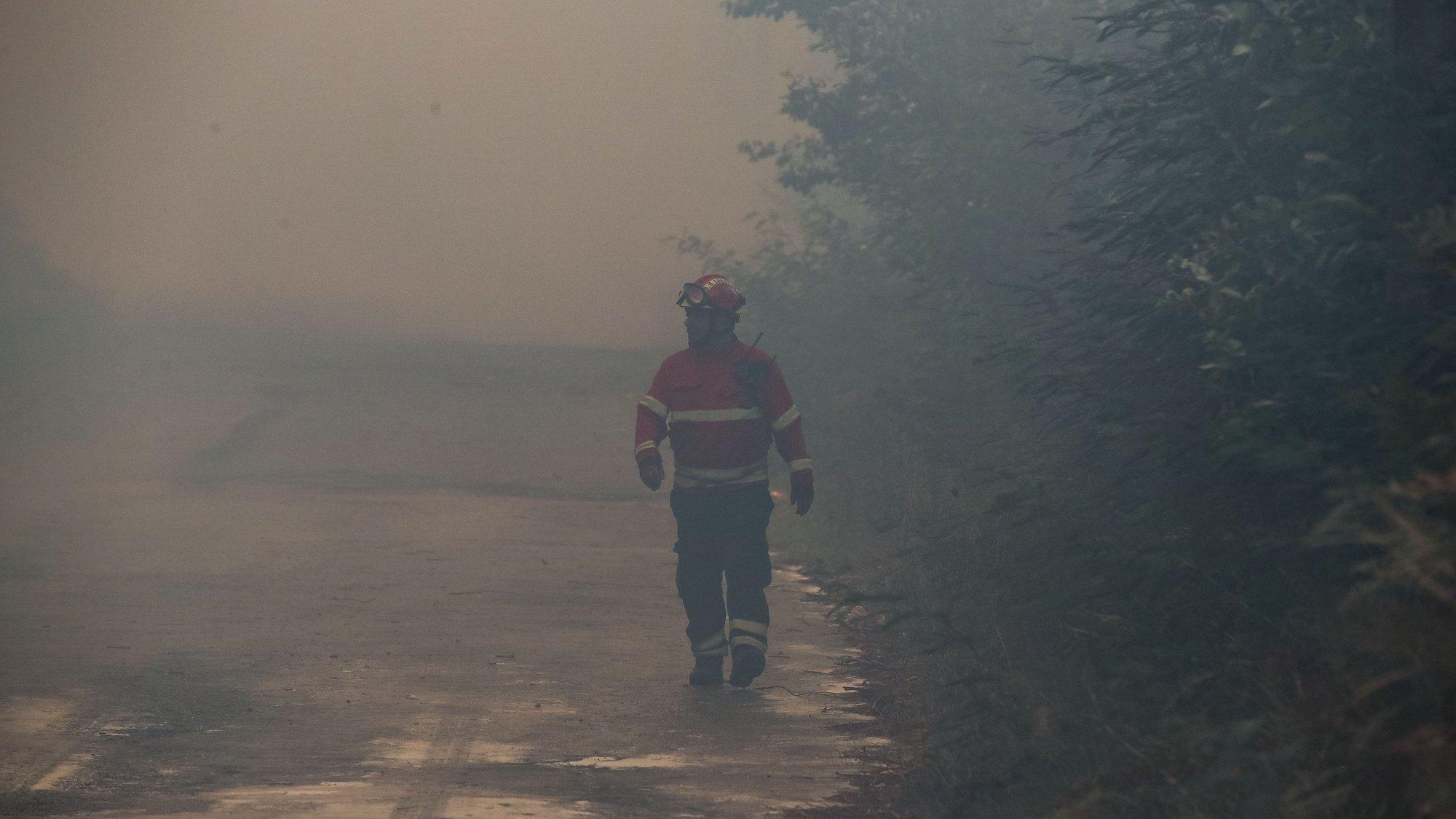 Um bombeiro durante o combate ao incêndio florestal lavra desde segunda-feira nos concelhos de Oliveira de Frades e Sever do Vouga, em Cedrim, 08 de setembro de 2020. A Estrada Nacional (EN) 328 encontra-se hoje cortada entre as freguesias de Pessegueiro do Vouga e Talhadas, na saída para a Autoestrada 25 (A25), no concelho de Sever do Vouga, devido ao incêndio de Oliveira de Frades. PAULO NOVAIS/LUSA