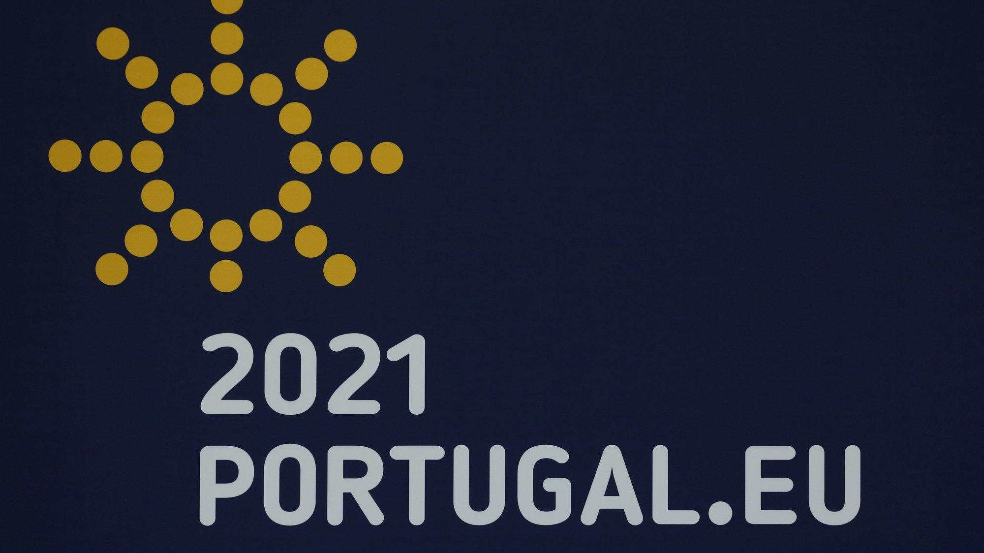 Logotipo da presidência portuguesa da União Europeia, Lisboa, 30 de dezembro de 2020. ANTÓNIO COTRIM/LUSA