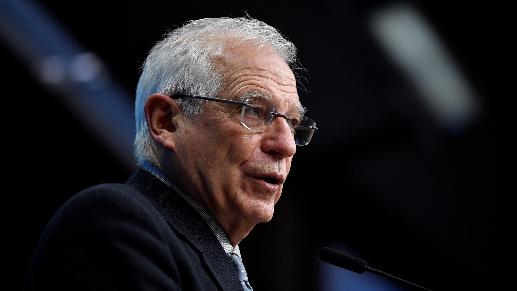 epa08964568 European Union for Foreign Affairs and Security Policy Josep Borrell speaks during a press conference following a meeting with EU Ministers of Foreign Affairs at the EU headquarters, in Brussels, Belgium, 25 January 2021.  EPA/JOHN THYS / POOL