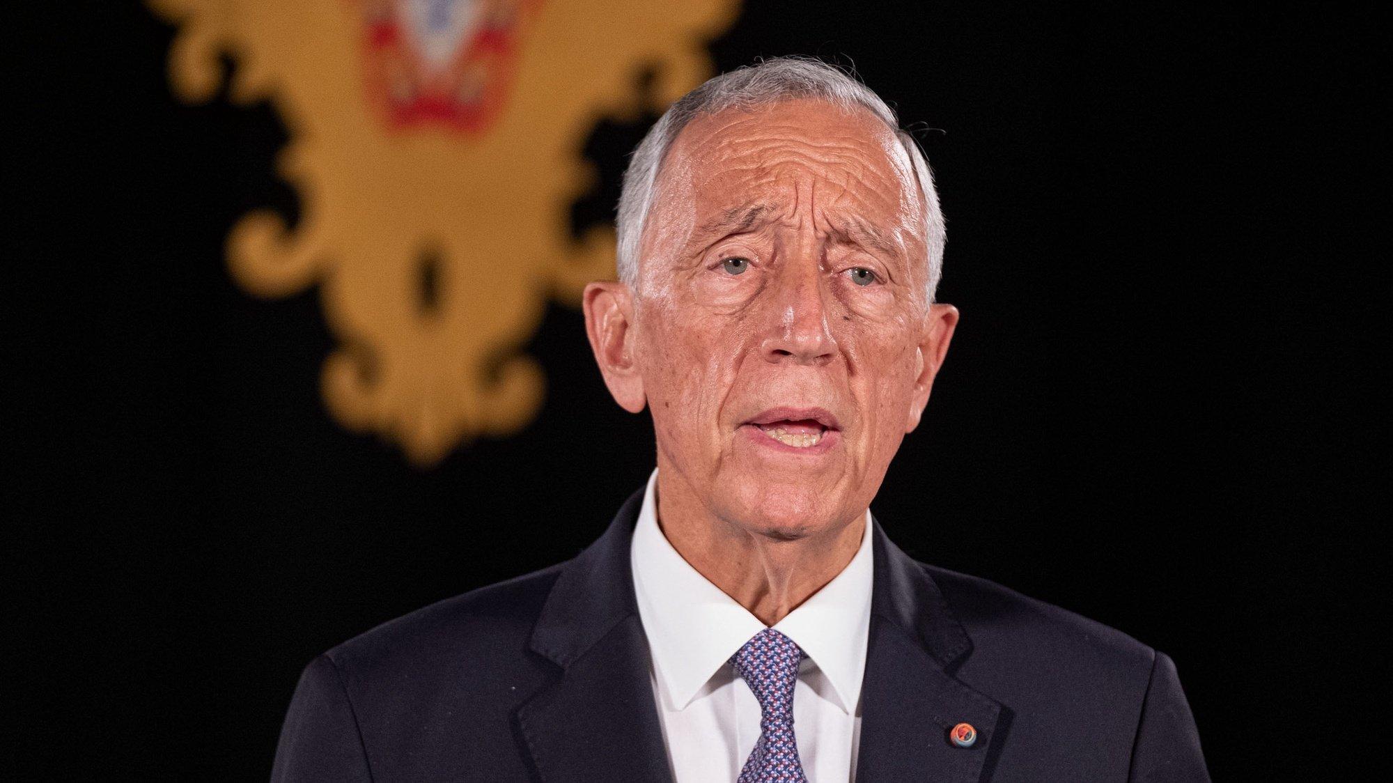 O Presidente da República, Marcelo Rebelo de Sousa, fala ao País sobre a décima renovação do segundo estado de emergência no Palácio de Belém, Lisboa, 25 de março de 2021.  RUI OCHÔA/PRESIDÊNCIA DA REPÚBLICA/LUSA