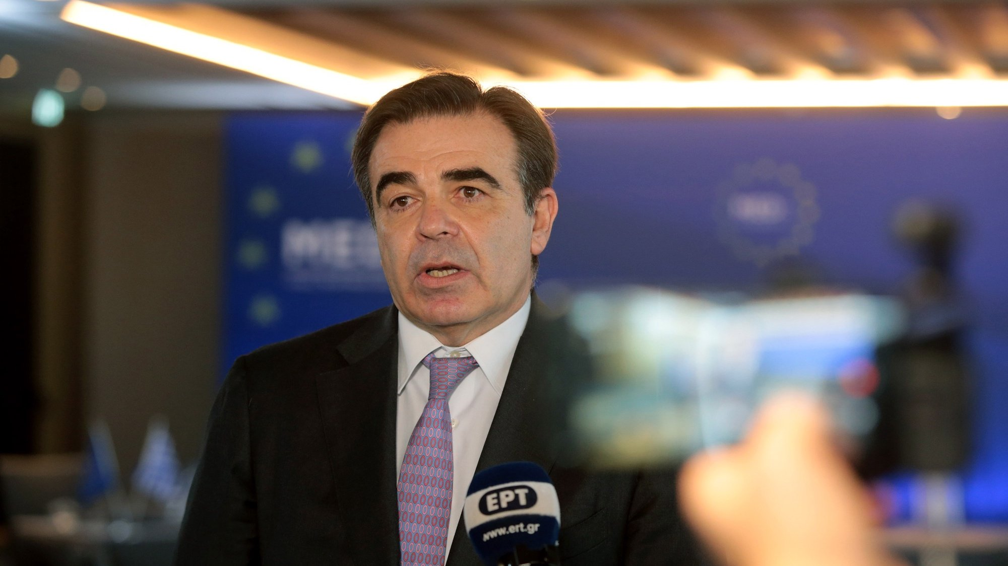 epa09085070 European Commission Vice-President for Promoting our European Way of Life, Margaritis Schinas speaks to the press during the Athens Informal Ministerial Meeting (MED 5), in Athens, Greece, 20 March 2021. The conference focuses on further formation of the common views and proposals of the five participating countries, as well as their systematic promotion to the ongoing dialogue in the EU on the new European Agreement for Migration and Asylum.  EPA/PANTELIS SAITAS