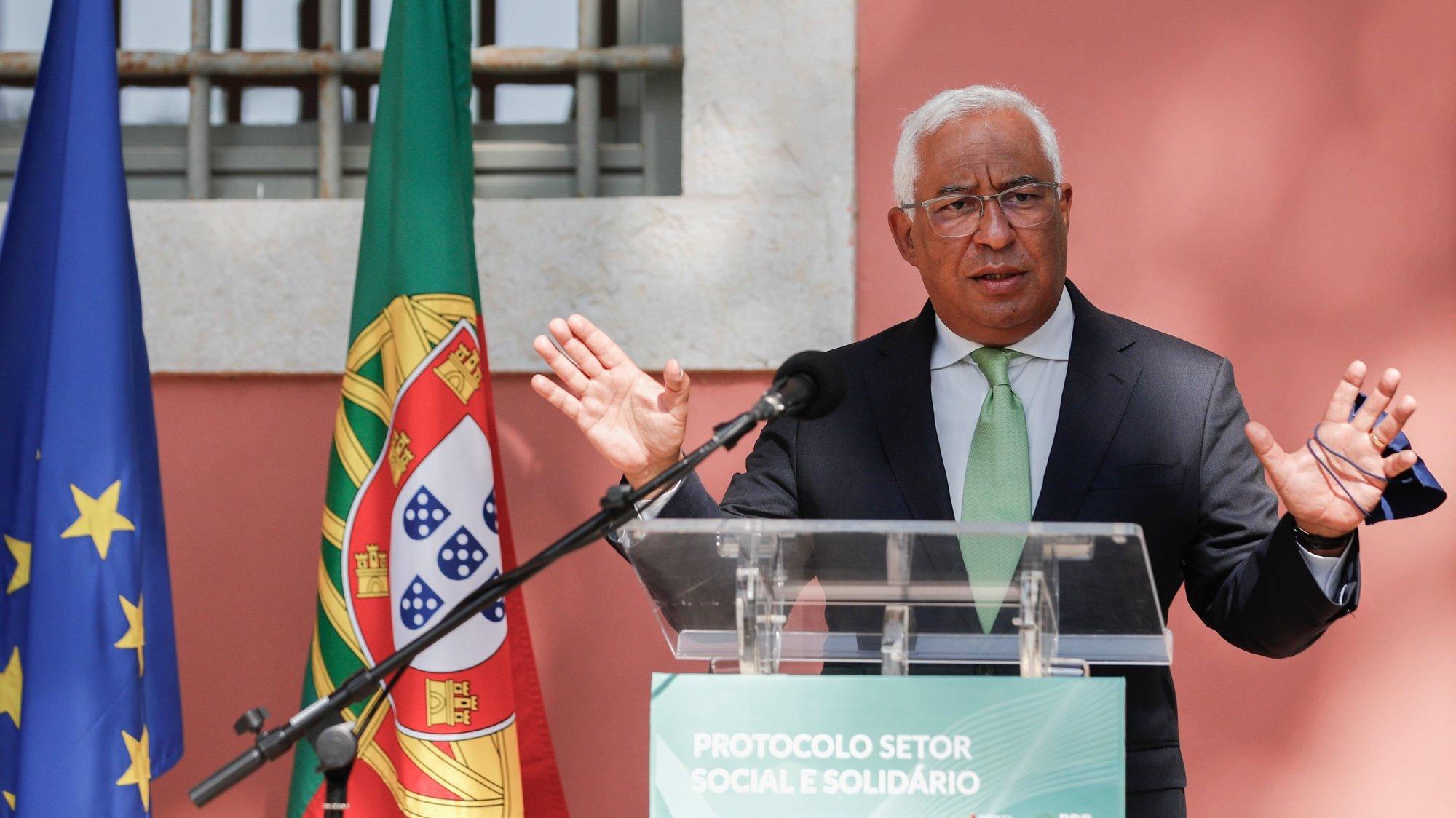 O primeiro-ministro, António Costa, discursa durante a cerimónia de assinatura do Protocolo do Setor Social e Solidário no âmbito da implementação do Plano de Recuperação e Resiliência (PRR), Lisboa, 21 de julho de 2021. ANTÓNIO COTRIM/LUSA