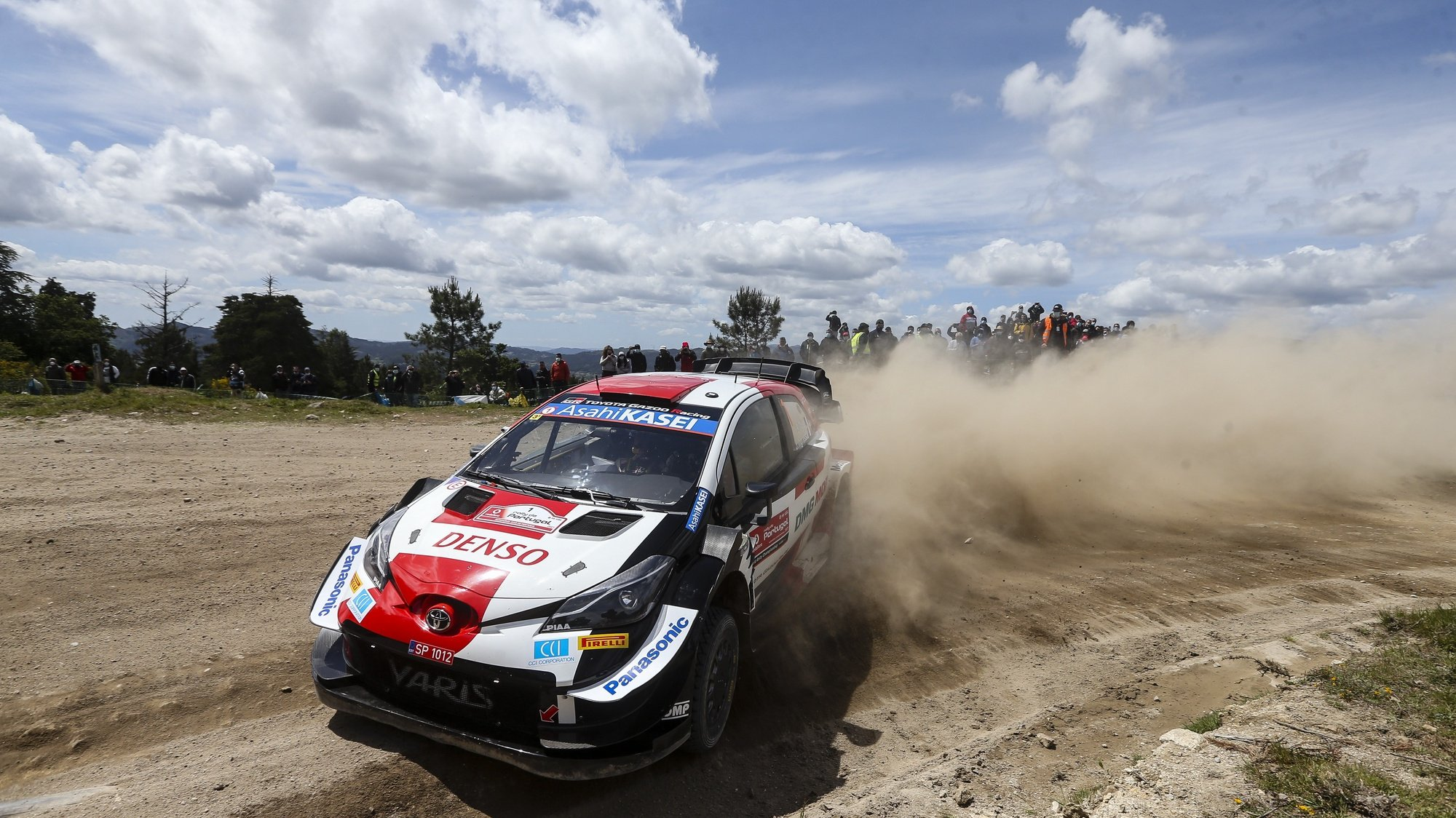 Sebastien Ogier from France drives his Toyota Yaris WRC during the second day of the Rally Portugal as part of the World Rally Championship (WRC), in Vieira do Minho, Portugal, 22 May 2021. JOSE COELHO/LUSA
