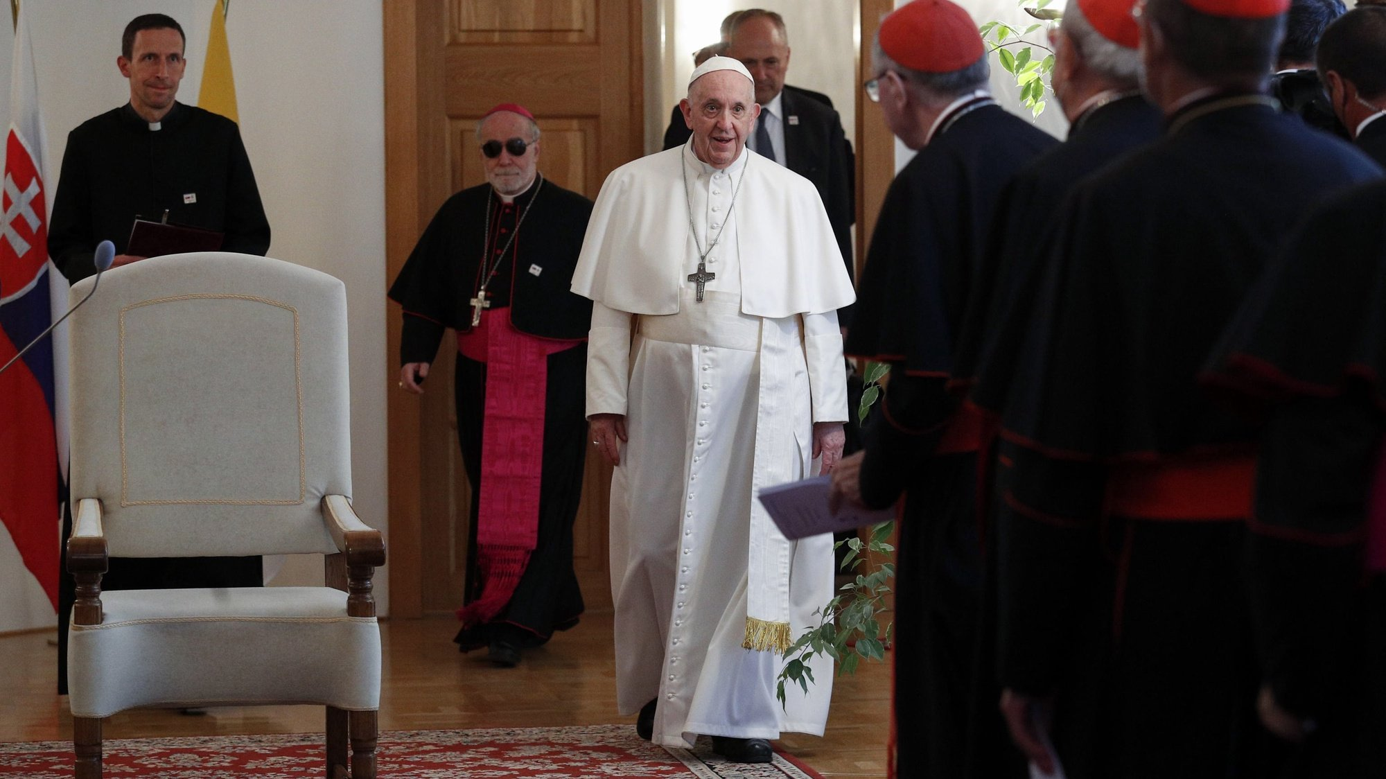 epa09463924 Pope Francis attends a meeting with Bishops at the Apostolic Nunciature in Bratislava, Slovakia, 12 September 2021. Pope Francis is on a three days visit to Slovakia, under the official motto: 'With Mary and Joseph on the way to Jesus'.  EPA/REMO CASILLI / POOL