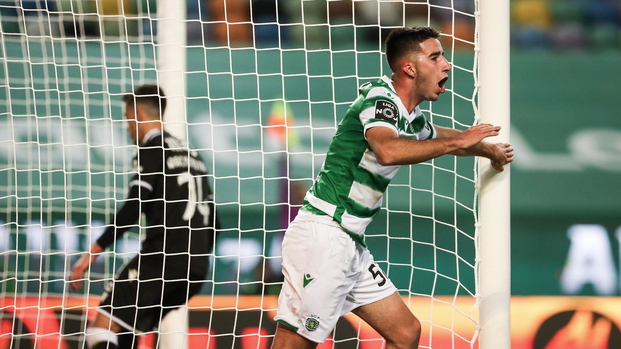 Sporting player Goncalo Inacio celebrates after scoring a goal against Vitoria de Guimaraes during their First League Soccer match held at Alvalade Stadium, in Lisbon, Portugal, 20 March 2021. JOSE SENA GOULAO/LUSA