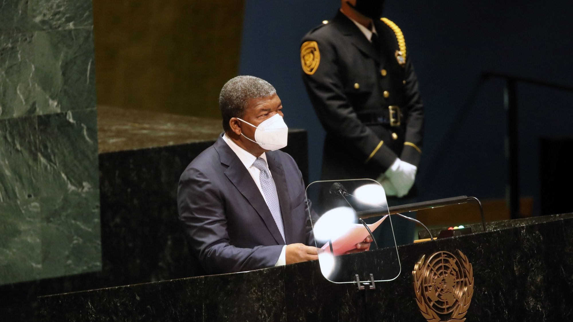 epa09483390 President of Angola Joao Lourenco speaks during the 76th Session of the General Assembly at UN Headquarters in New York City, New York, USA, 23 September 2021.  EPA/SPENCER PLATT / POOL