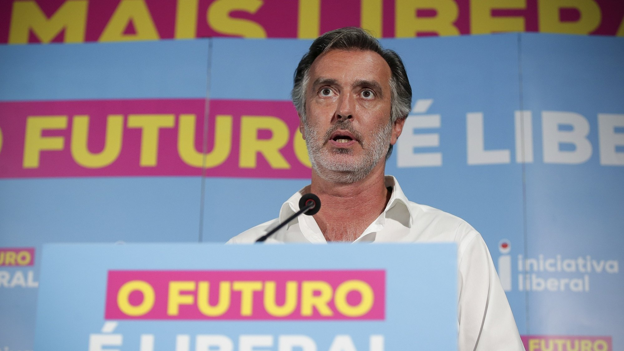 Liberal Initiative (IL) leader Joao Cotrim de Figueiredo reacts to the election of the independent candidate supported by the party to local elections, Rui Moreira, at the Liberal Initiative party headquarters, in Porto, 27 September 2021. Today more than 9.3 million voters can vote in local elections to elect their local representatives in Portugal. MANUEL FERNANDO ARAUJO/LUSA