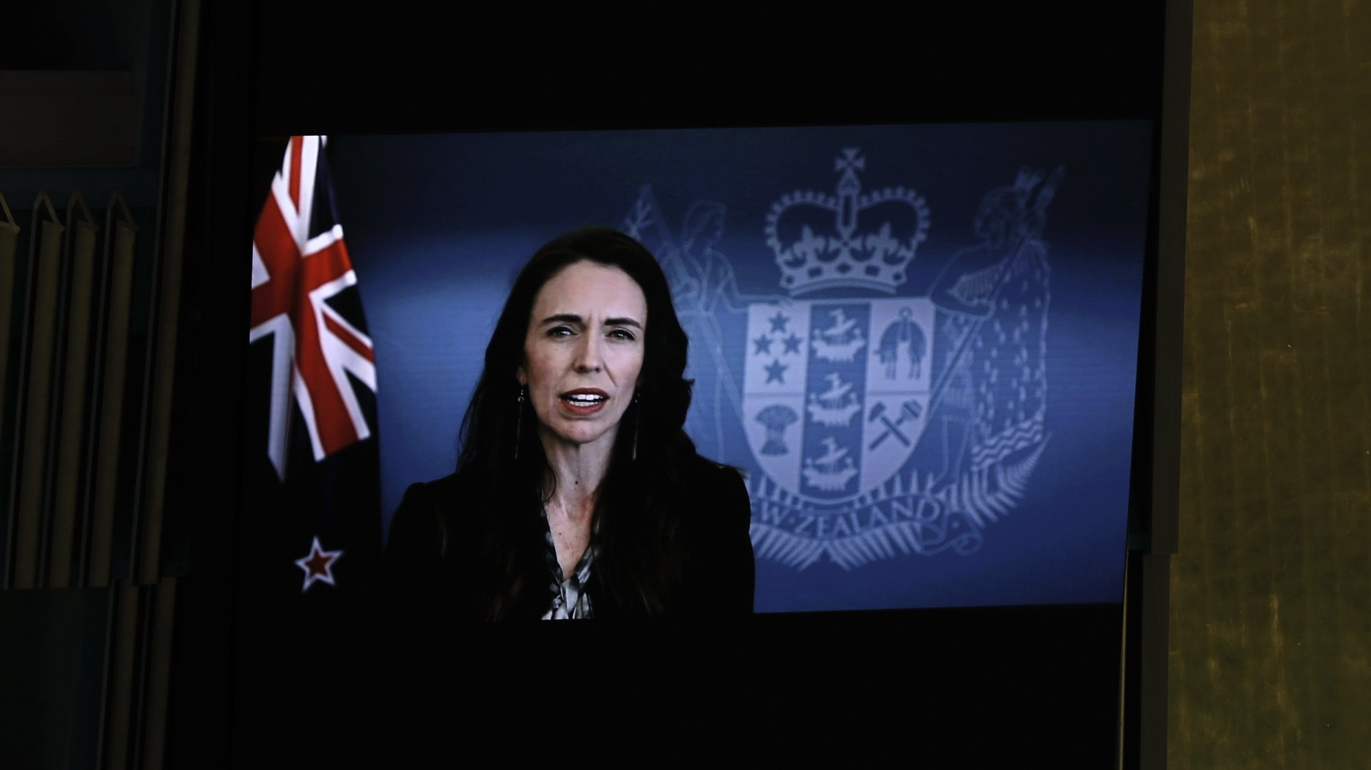 epa09486458 Prime Minister of New Zealand, Jacinda Ardern addresses, via prerecorded video, the General Debate of the 76th Session of the United Nations General Assembly at UN Headquarters in New York, New York, USA, 24 September 2021.  EPA/PETER FOLEY