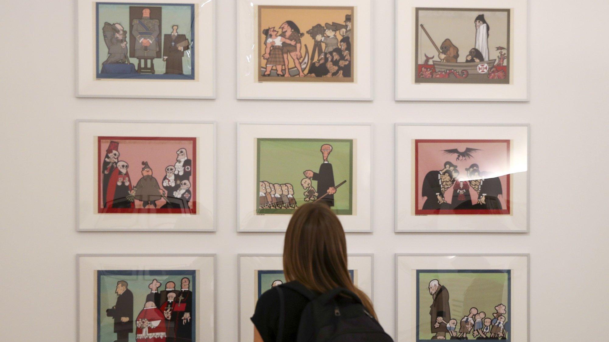 """Exposição """"João Abel Manta: A Máquina de Imagens"""" do arquiteto, ilustrador, cartoonista e pintor, que irá estar aberta ao público a partir de dia 06 de outubro, na Fundação D. Luís I , no Palácio Cidadela de Cascais, 4 de outubro de 2021. MANUEL DE ALMEIDA/LUSA"""