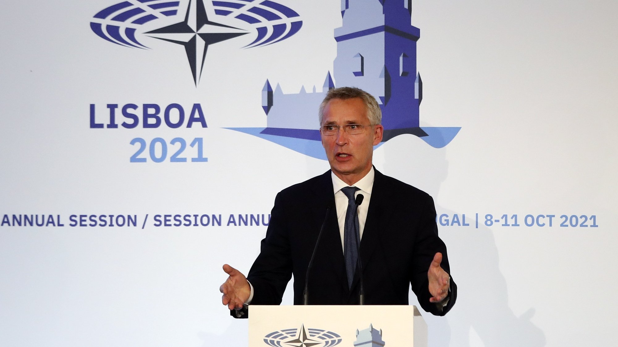 NATO Secretary General, Jens Stoltenberg, delivers a speech during the closing ceremony of the 67th Annual Session of the NATO Parliamentary Assembly (NPA) being held between 08 and 11st october in Lisbon, Portugal, 11 October 2021.  MANUEL DE ALMEIDA/LUSA