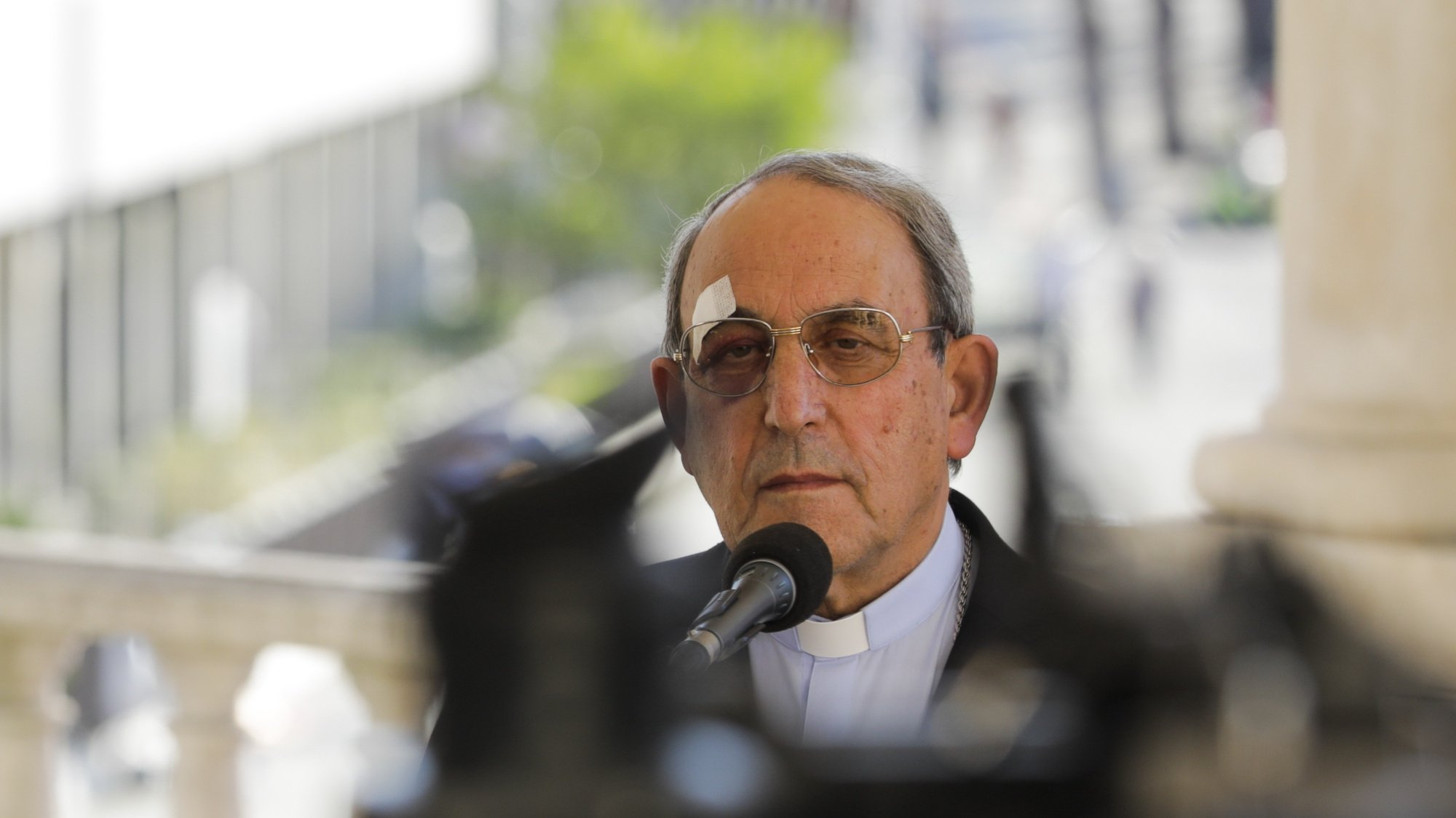 """The Bishop of Leiria and Fatima, Cardinal Antonio Marto, takes part in the press conference preceding the October Pilgrimage at the Shrine of Fatima, Portugal, 12 October 2021. This pilgrimage, which celebrates the 6th Apparition of Our Lady, with particular emphasis on the so-called """"miracle of the Sun,"""" is the last major anniversary pilgrimage of a pastoral year still very much marked by the pandemic. PAULO CUNHA /LUSA"""