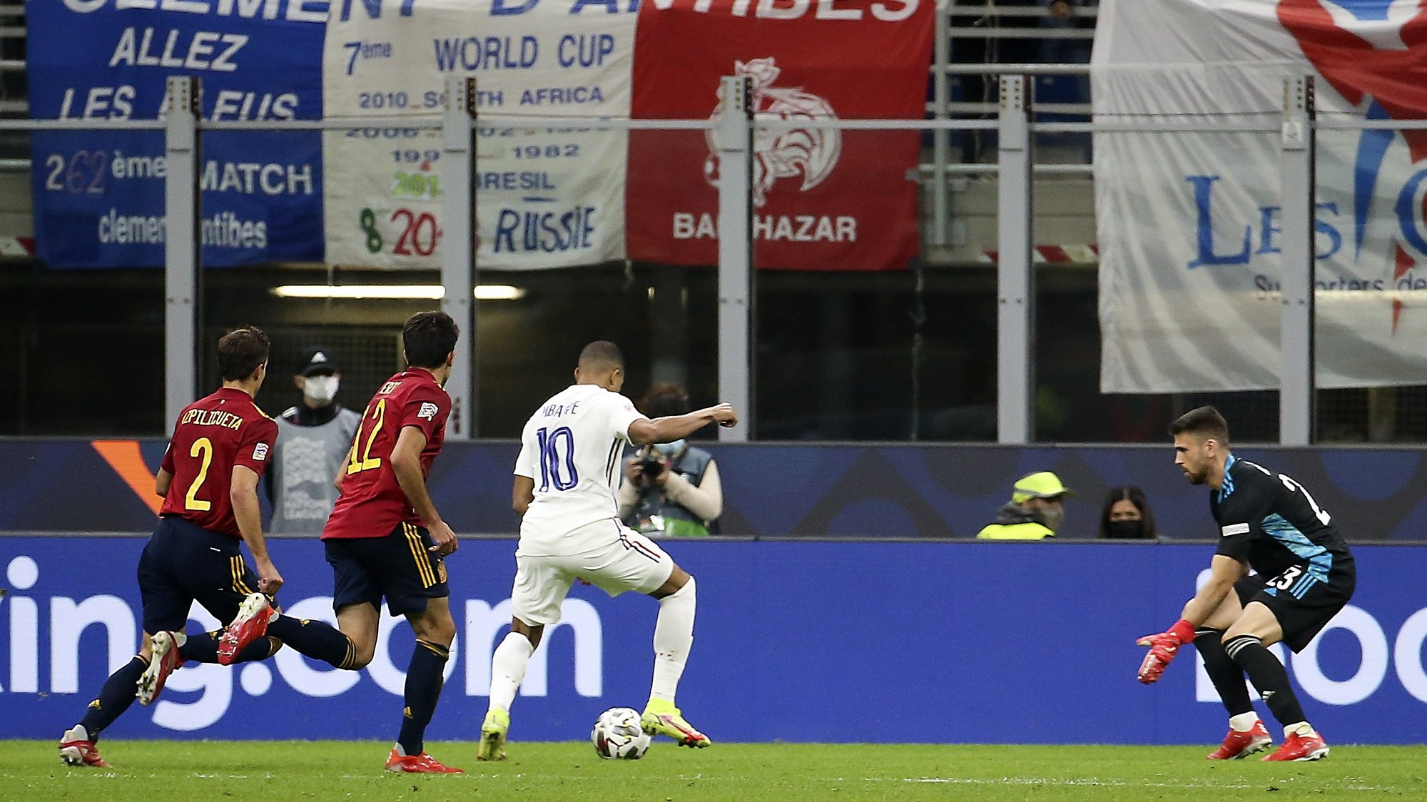 epa09517488 France's Kylian Mbappe (3-L) scores the 1-2 goal during the UEFA Nations League final soccer match between Spain and France in Milan, Italy, 10 October 2021.  EPA/MATTEO BAZZI