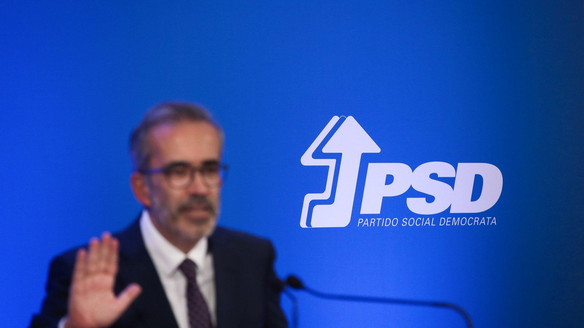 O eurodeputado do Partido Social Democrata (PSD), Paulo Rangel, durante a apresentação da sua candidatura à liderança do partido, em Lisboa, 15 de outubro de 2021. As eleições diretas do Partido Social Democrata ocorrem a 4 de dezembro. MÁRIO CRUZ/LUSA