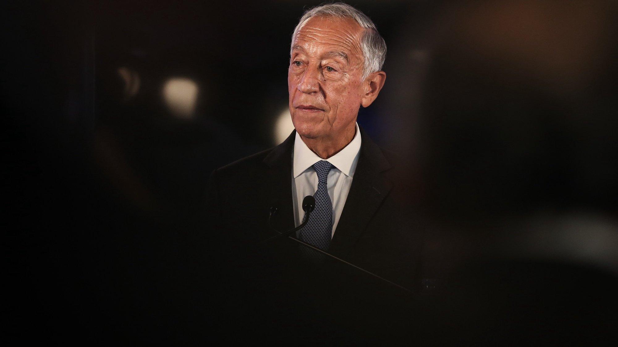 O Presidente da República, Marcelo Rebelo de Sousa, durante a inauguração da nova casa da Ajuda de Berço, em Lisboa, 13 de outubro de 2021.  RODRIGO ANTUNES/LUSA