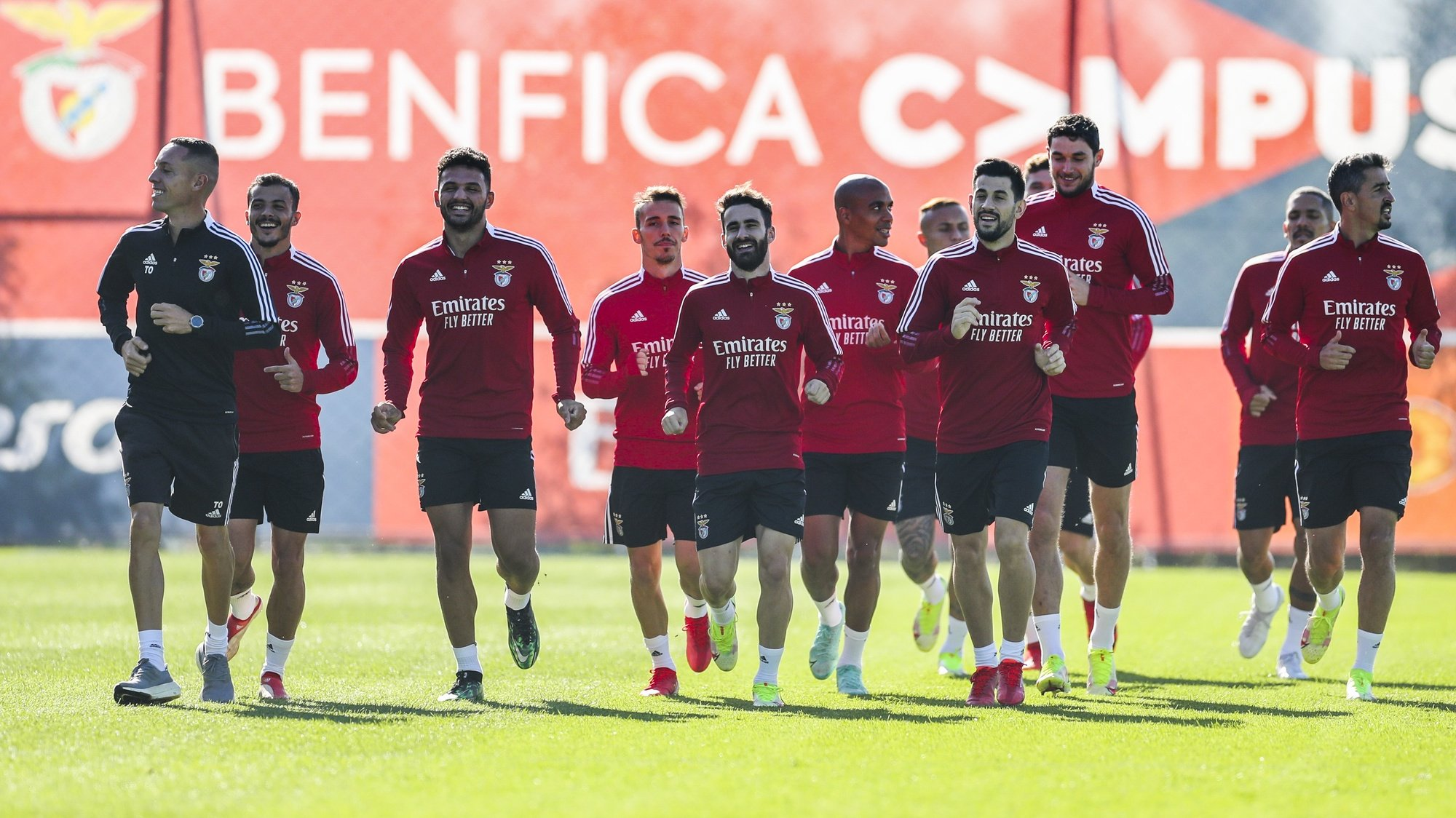 Benfica's players attend their team's training session at Benfica's training camp in Seixal, Portugal, 19 October 2021. Benfica will face Bayern Munich in their UEFA Champion League group E soccer match on 20th October 2021. ANTONIO COTRIM/LUSA