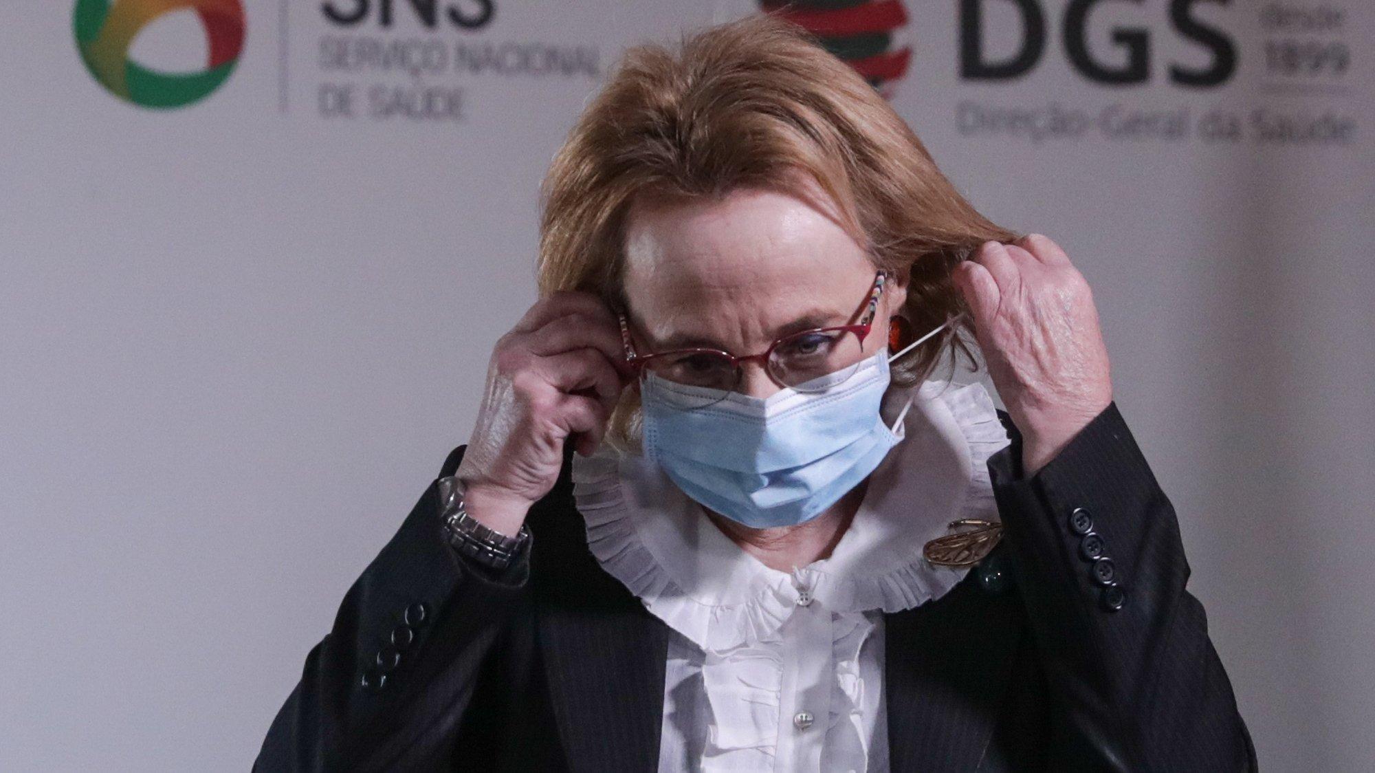A Diretora-Geral da Saúde, Graça Freitas, durante a conferência de imprensa sobre o novo coronavírus (covid-19), realizada na Direção-Geral da Saúde, em Lisboa, 22 de dezembro de 2020. Em Portugal, registaram-se 63 mortes e 2.436 novas infeções confirmadas, segundo o balanço feito hoje pela Direção-Geral da Saúde (DGS). TIAGO PETINGA/POOL/LUSA