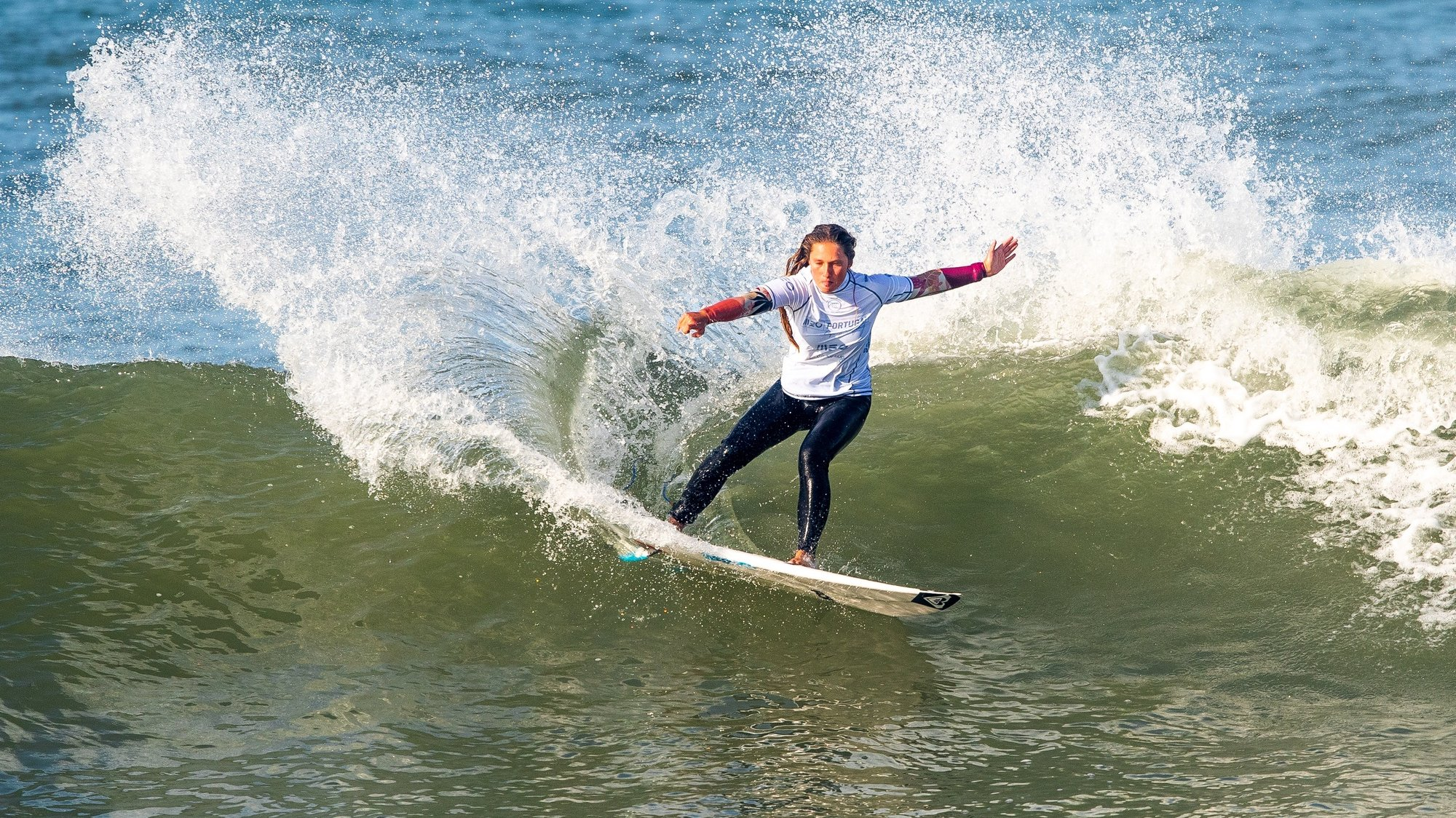 epa08705717 A handout photo made available by the World Surf League (WSL) of Portugal's Francisca Veselko in action during round 1 of the MEO Portugal Cup surfing WSL Countdown event in Ericeira, Portugal, 29 September 2020.  EPA/Damien Poullenot HANDOUT  HANDOUT EDITORIAL USE ONLY/NO SALES