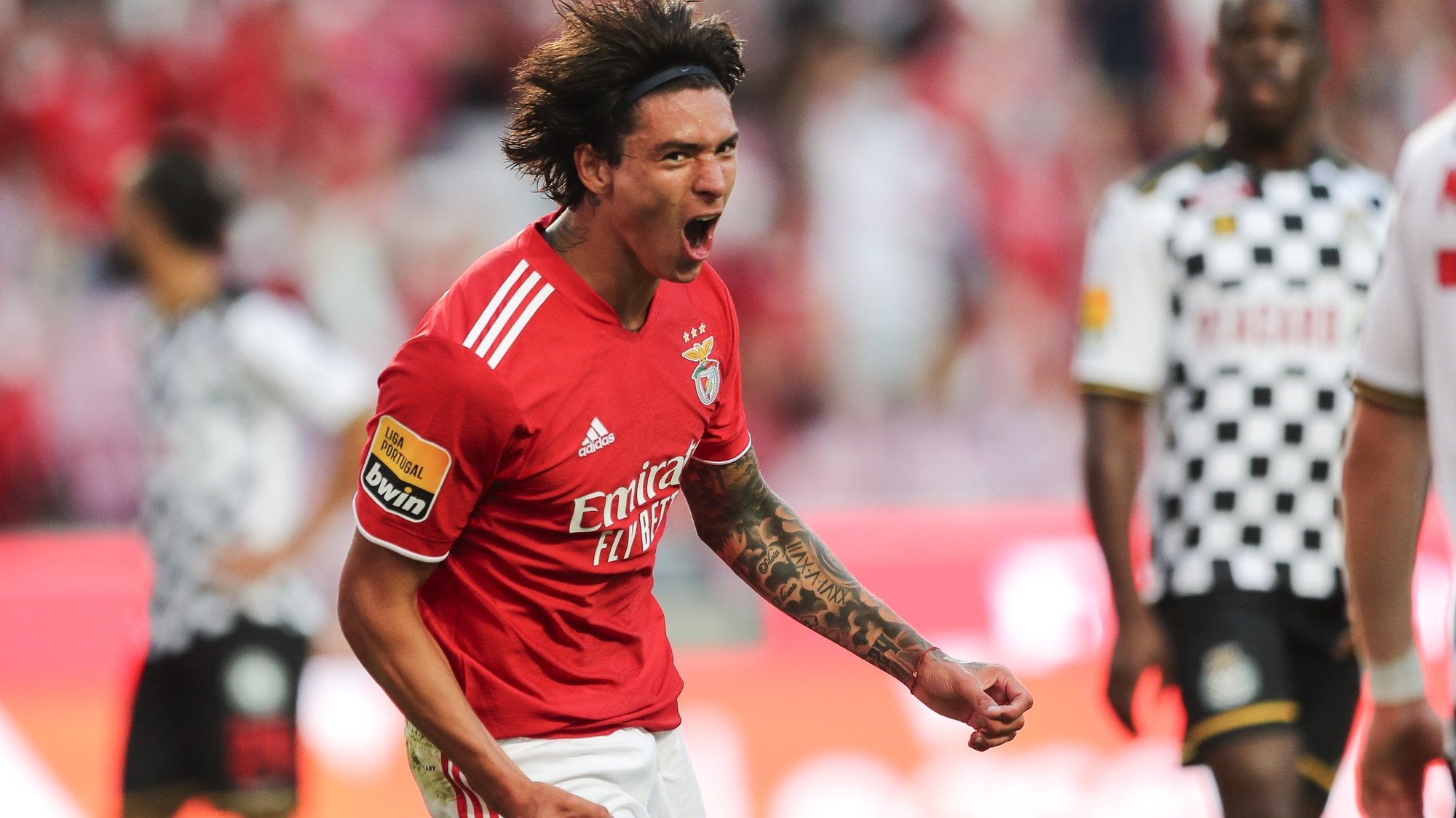 Benfica's Darwin Nunez celebrates after scoring a goal during the Portuguese First League soccer match between Benfica and Boavista at Luz Stadium in Lisbon, Portugal, 20 September 2021. MIGUEL A. LOPES/LUSA
