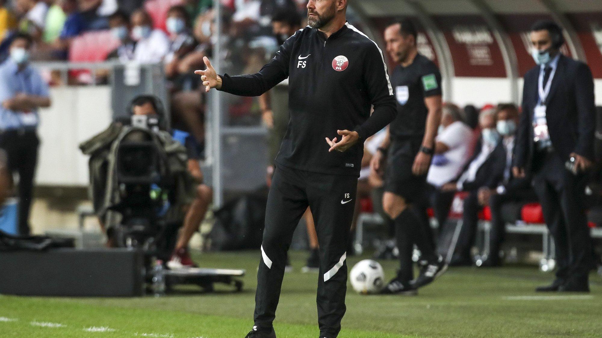 Qatar's head coach Felix Sanchez reacts during the friendly soccer match between Qatar and Portugal held at Nagyerdei stadium in Debrecen, Hungary, 04 September 2021. PAULO NOVAIS/LUSA