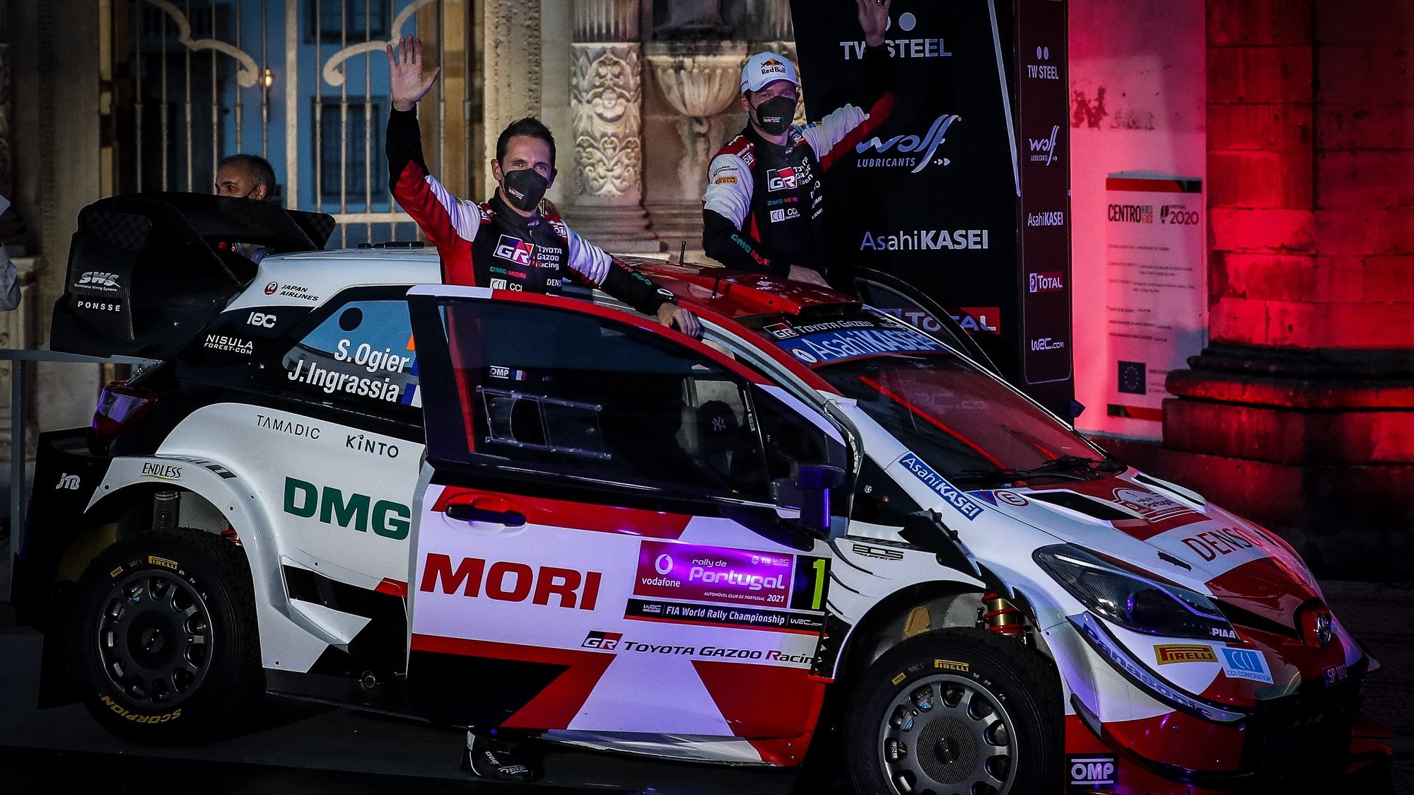 Sebastien Ogier of France drives his Toyota Yaris WRC during the ceremonial start on the first day of the Rally of Portugal as part of the World Rally Championship (WRC) in Coimbra, Portugal, 20 May 2021. PAULO NOVAIS/LUSA