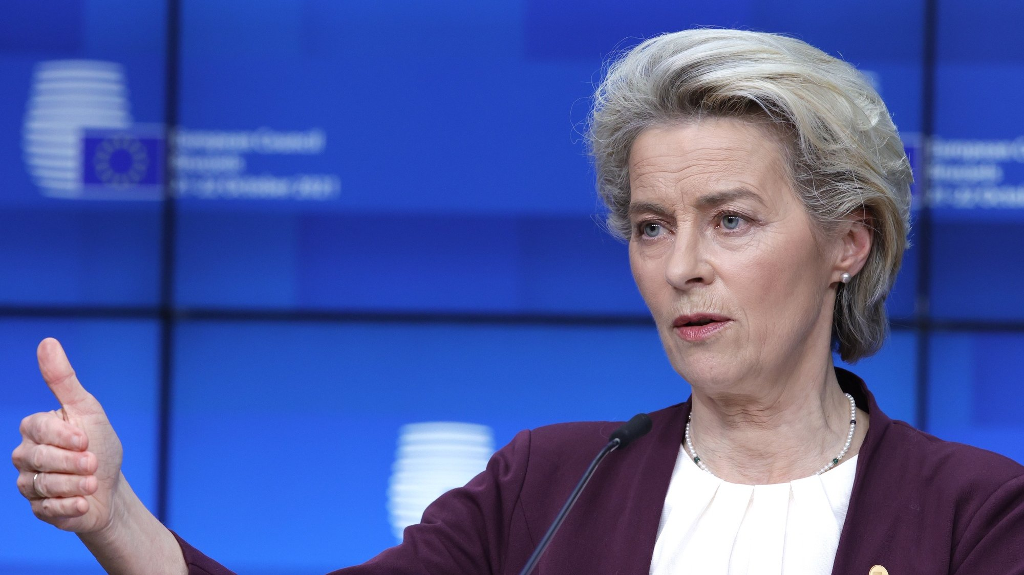 epa09539173 European Commission President Ursula von der Leyen speaks during a media conference at an EU summit in Brussels, Belgium, 22 October 2021. European Union leaders concluded a two-day summit, on 22 October 2021, in which they discussed issues such as climate change, the energy crisis, COVID-19 developments and migration.  EPA/Olivier Matthys / POOL