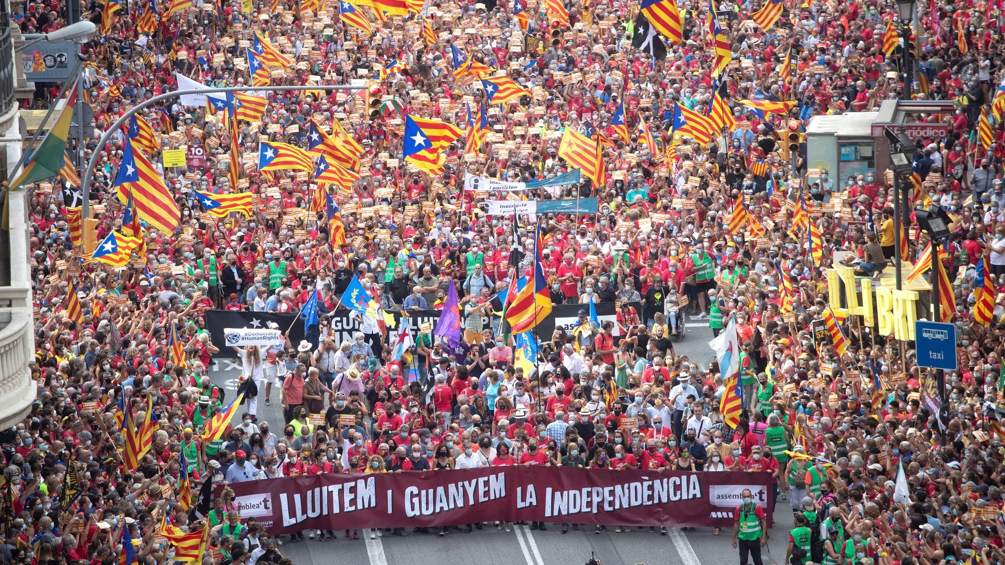 epa09461770 General view of the the demonstration organized by Catalan pro-independence group Asamblea Nacional Catalana (ANC) on occasion of the Day of Catalonia 'Diada', in Barcelona, Catalonia,Spain, 11 September 2021. The Diada is celebrated annually on 11 September and marks the fall of Barcelona during the War of the Spanish Succession in 1714.  EPA/Marta Perez