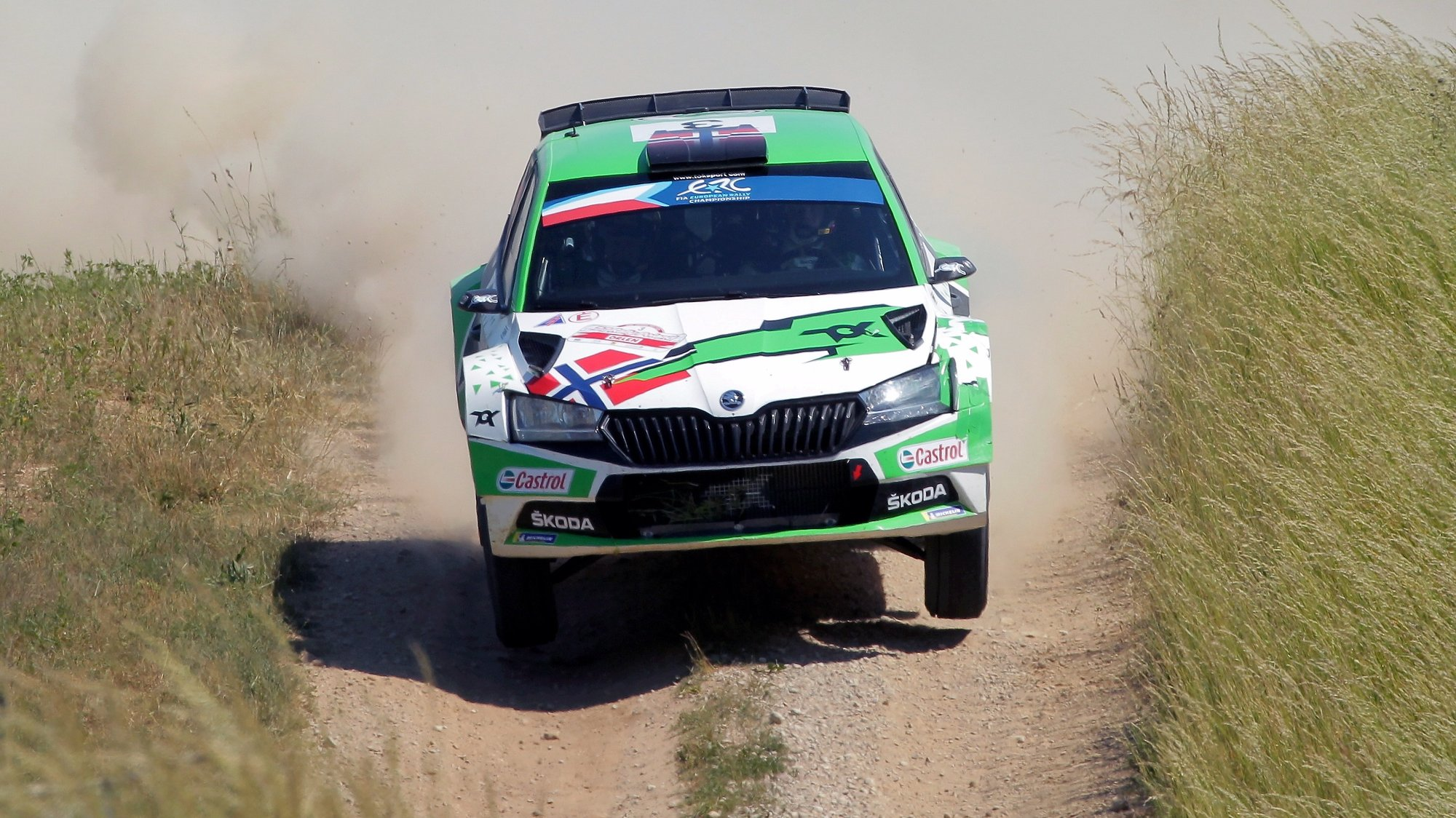 epa09285764 Andreas Mikkelsen of Norway drives his Skoda Fabia Rally2 Evo during day 2 of the Rally Poland 2021, in Dziegiele, northern Poland, 19 June 2021.  EPA/TOMASZ WASZCZUK POLAND OUT