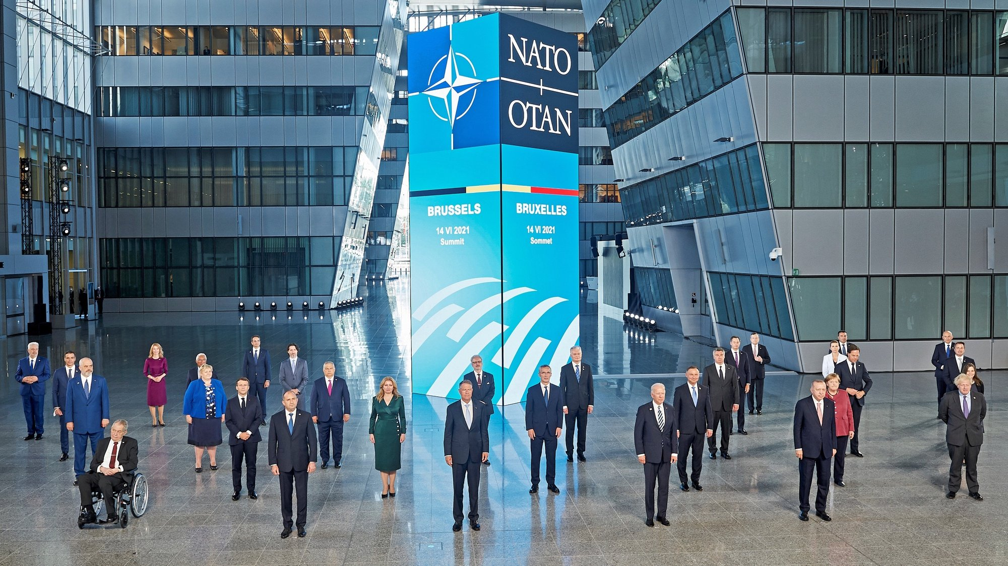 epa09270373 NATO heads of states and governments pose for the family picture during the NATO summit at the Alliance's headquarters, in Brussels, Belgium, 14 June 2021. The 30-nation alliance hopes to reaffirm its unity and discuss increasingly tense relations with China and Russia, as the organization pulls its troops out after 18 years in Afghanistan.  EPA/Horst Wagner / POOL