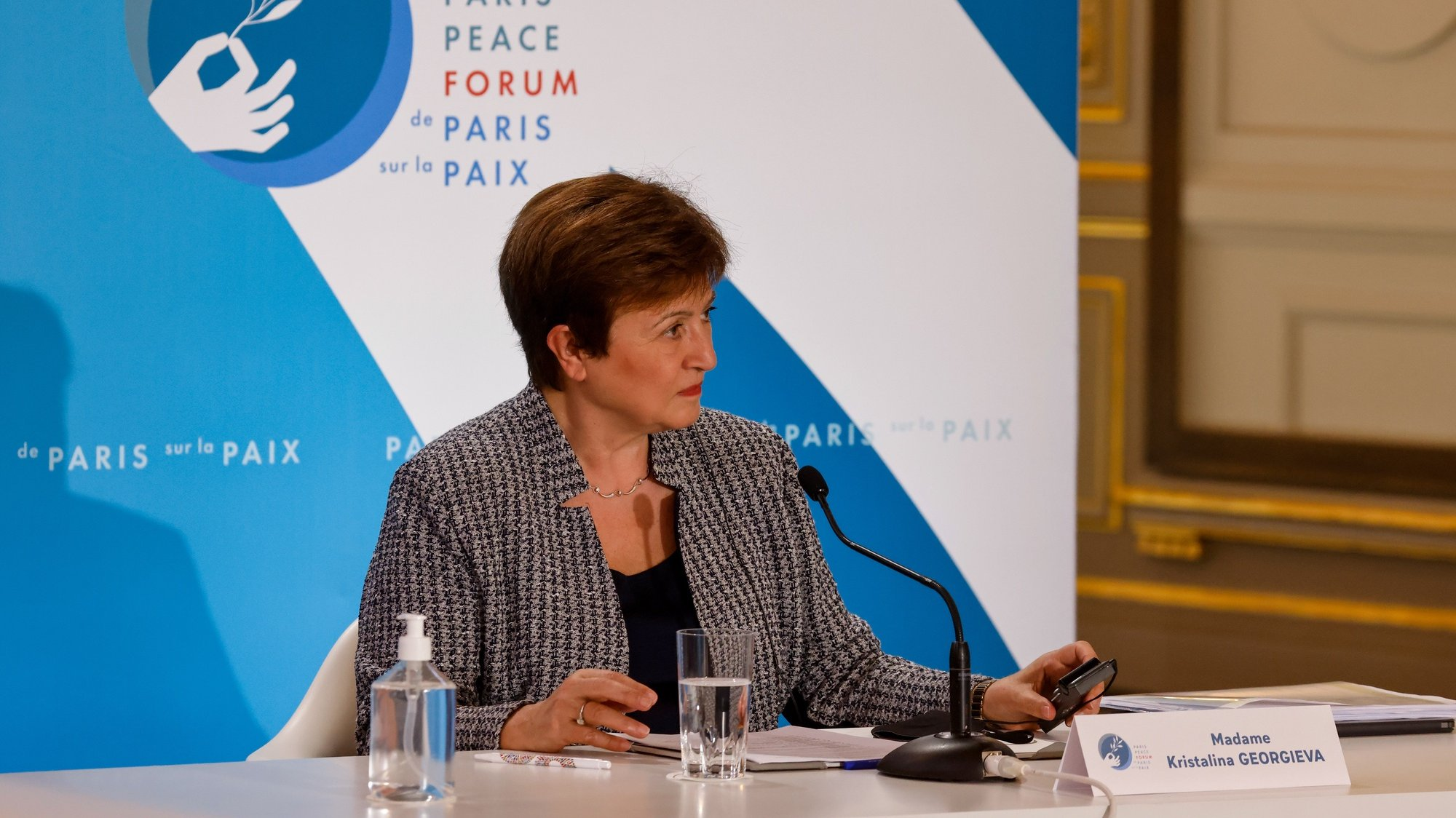 epa08815835 International Monetary Fund Managing Director Kristalina Georgieva attends The Paris Peace Forum at The Elysee Palace in Paris, France, 12 November 2020. Organisers of the French Paris Peace Forum say several countries and foundations are set to pledge more than 500 million US dollars for a global pool aimed at ensuring equitable access to coronavirus tests, treatment and vaccines for all nations.  EPA/LUDOVIC MARIN / POOL  MAXPPP OUT