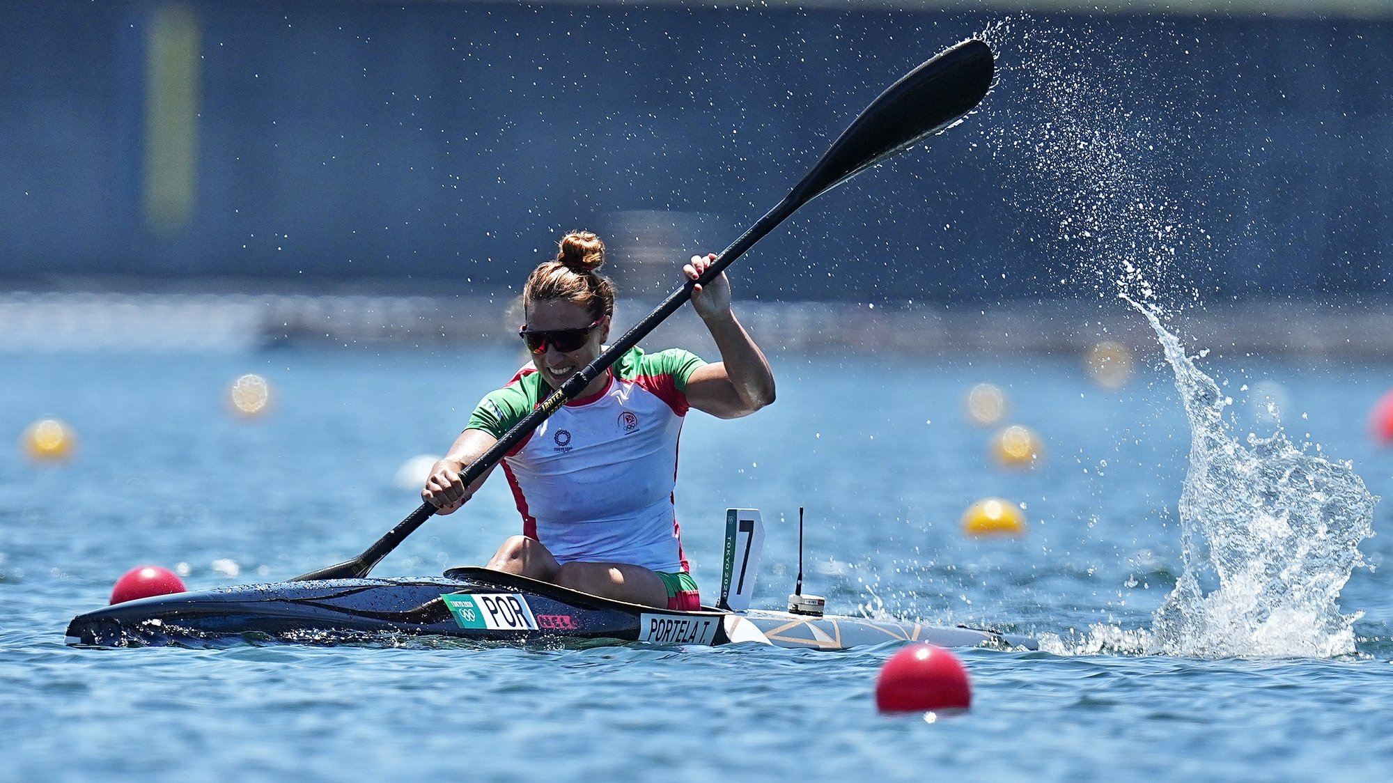 epa09396562 Portuguese Teresa Portela competes in the Women's Kayak Single 500m during the Canoeing Sprint events of the Tokyo 2020 Olympic Games at the Sea Forest Waterway in Tokyo, Japan, 05 August 2021.  EPA/NIC BOTHMA