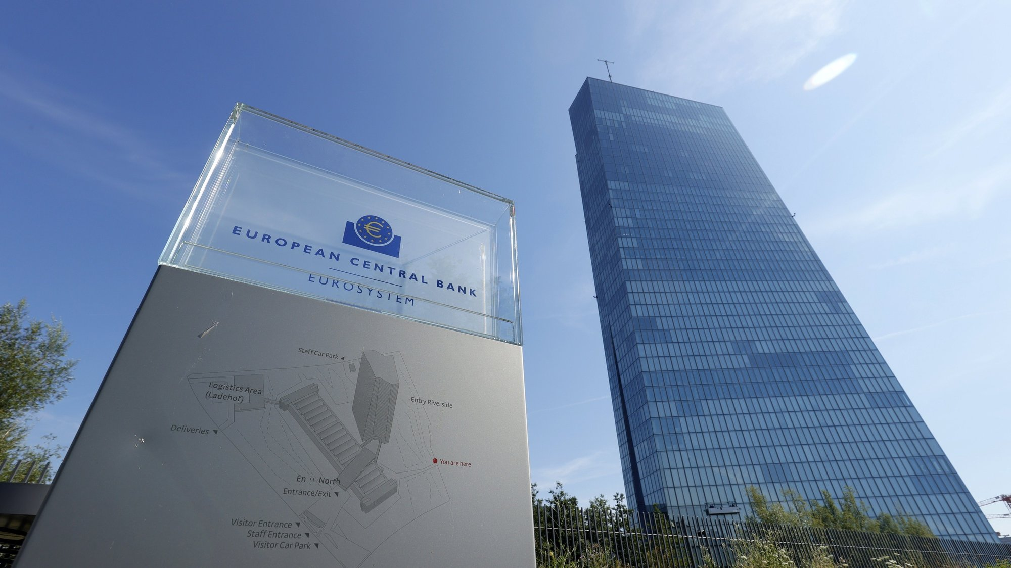epa08545436 A general view of a sign in front of the building of the European Central Bank (ECB) in Frankfurt am Main, Germany, 14 July 2020.  EPA/RONALD WITTEK