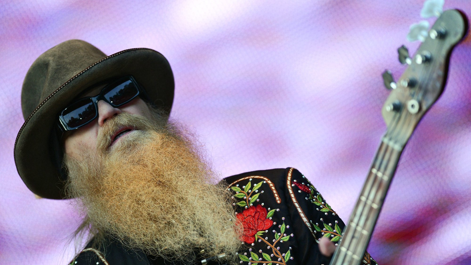 epa03769103 Dusty Hill, bassist of US band ZZ Top performs during a concert at the municipal park in Hamburg, Germany, 30 June 2013.  EPA/AXEL HEIMKEN