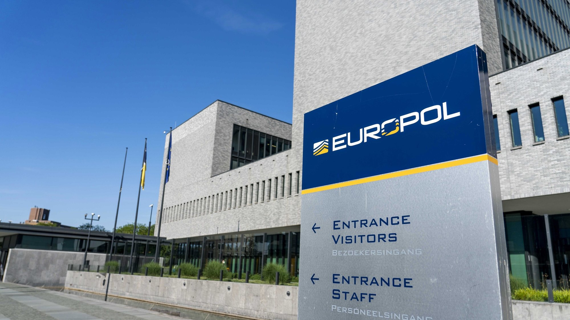 epa09254493 An exterior view of the Europol headquarters in The Hague, the Netherlands, 08 June 2021, prior to a Europol's press conference on one of the largest and most sophisticated law enforcement operations to date in the fight against encrypted criminal activities that resulted in the arrest of more than 800 people. According to a statement by the Europol, the US Federal Bureau of Investigation (FBI), the Dutch National Police, the Swedish Police Authority, in cooperation with the US Drug Enforcement Administration (DEA) and 16 other countries have carried out the investigations with the support of Europol.  EPA/JERRY LAMPEN