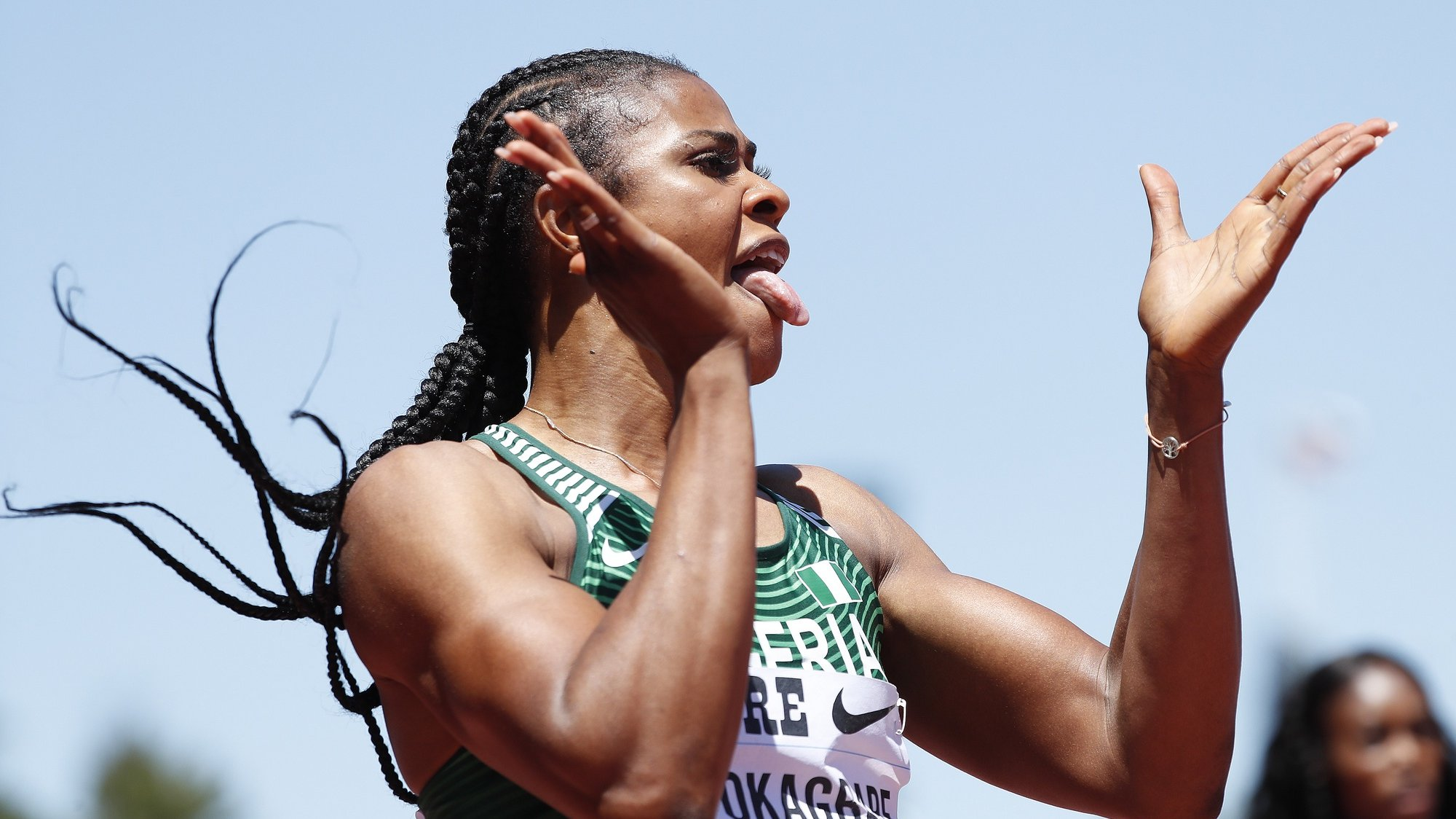 epa07686268 Blessing Okagbare of Nigeria reacts after winning the Women 200m during the Athletics IAAF Diamond League - Prefontaine Classic at Stanford, California, USA, 30 June 2019.  EPA/JOHN G. MABANGLO