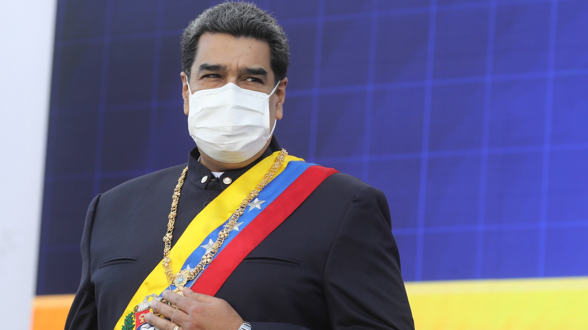 epa09324893 A handout photo made available by Miraflores Press shows Venezuelan President Nicolas Maduro during the celebration of the 210th anniversary of the signing of the independence act, in Caracas, Venezuela, 05 July 2021. Maduro affirmed that 'Celebrating independence today, 210 years after the signing of the act, means a commitment to recover and restore the socialist welfare state built in these years of the Bolivarian revolution,' said the President ahead of the traditional parade of the 05 July and after presiding over a promotion ceremony.  EPA/Miraflores Press HANDOUT  HANDOUT EDITORIAL USE ONLY/NO SALES