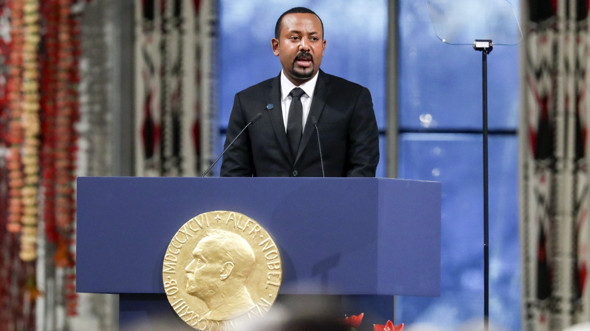 epa08059602 Ethiopian Prime Minister Abiy Ahmed Ali, the 2019 Nobel Peace Prize laureate, gives his acceptance speech during the awarding ceremony in Oslo, Norway, 10 December 2019.  EPA/Stian Lysberg Solum  NORWAY OUT