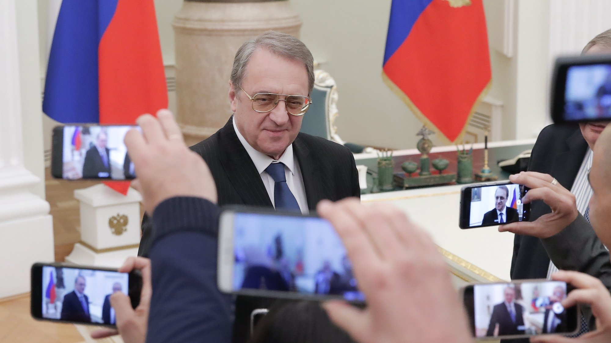 epa07401164 Russian Deputy Foreign Minister Mikhail Bogdanov speaks with journalists before a meeting of Russian Presidentwith Israeli Prime Minister at the Kremlin in Moscow,27  Russia February 2019. Benjamin Netanyahu is on a brief state visit.  EPA/MAXIM SHEMETOV / POOL