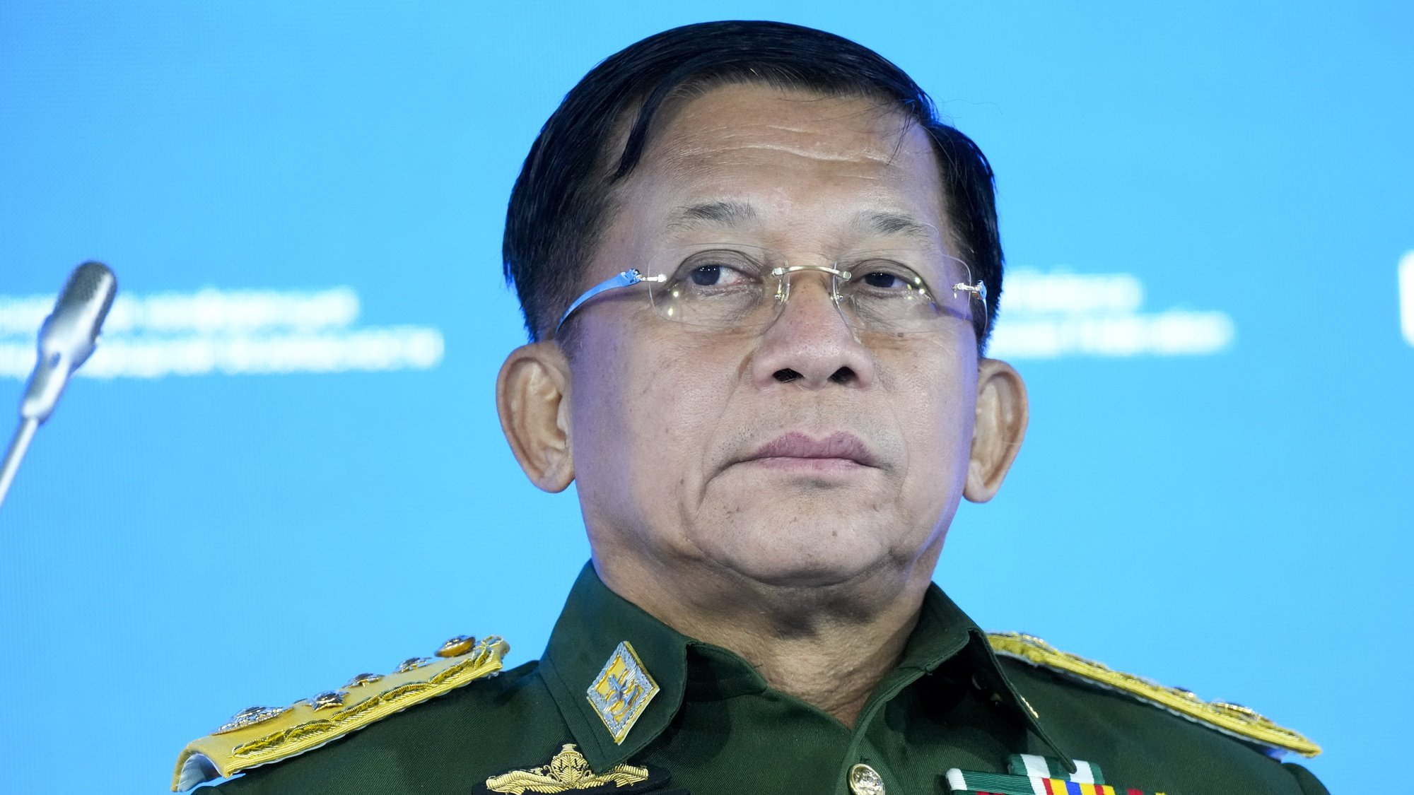 epaselect epa09295064 Commander-in-Chief of Myanmar's armed forces, Senior General Min Aung Hlaing delivers his speech at the IX Moscow conference on international security in Moscow, Russia, 23 June 2021.  EPA/ALEXANDER ZEMLIANICHENKO / POOL