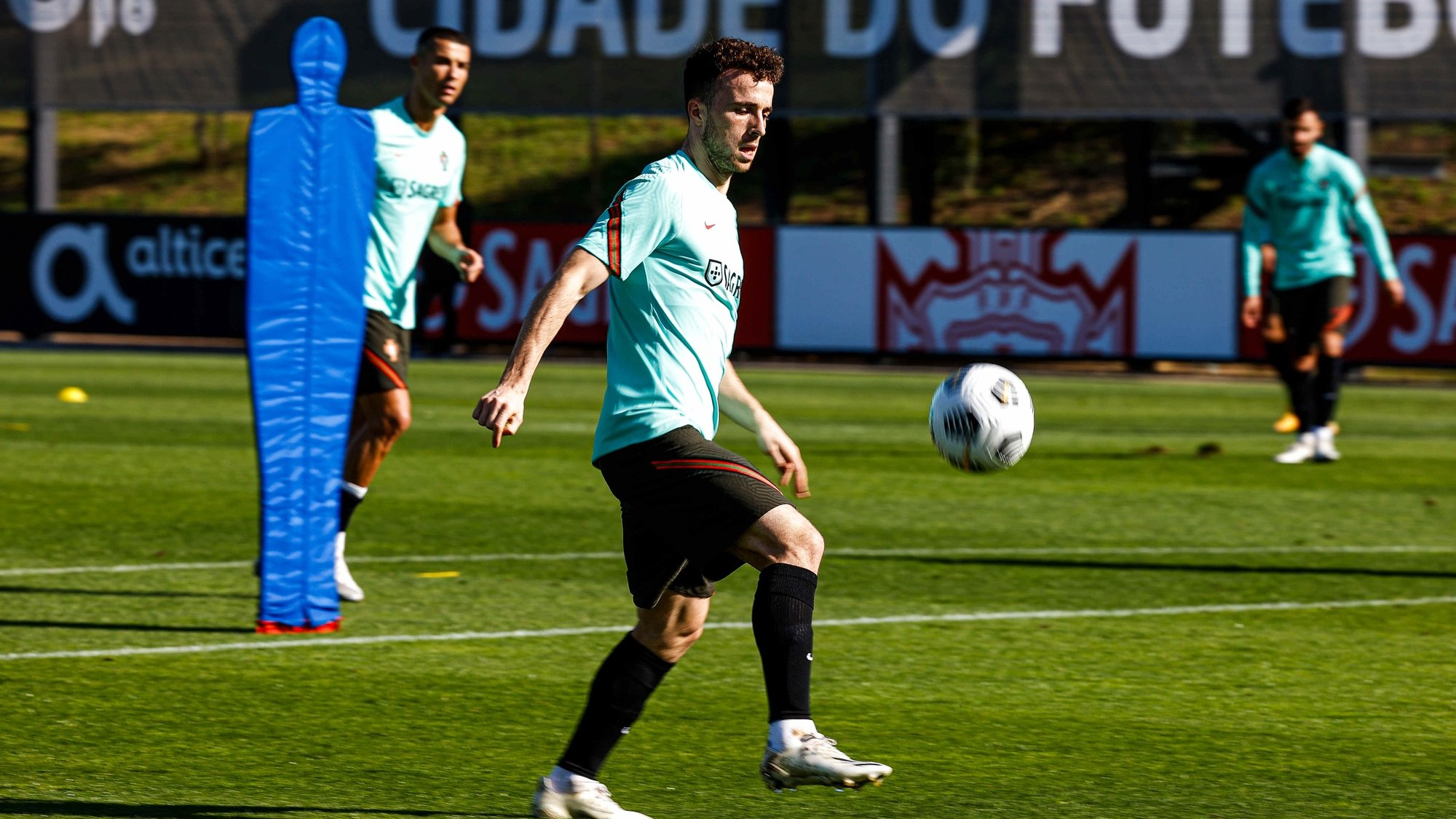 Portuguese Soccer Federation (FPF) handout picture of the Portuguese national soccer team player, Raphael Guerreiro, during a training session for the upcoming match with Andorra to be played tomorrow, Oeiras, Portugal, 10 November 2020.  DIOGO PINTO/FPF/LUSA