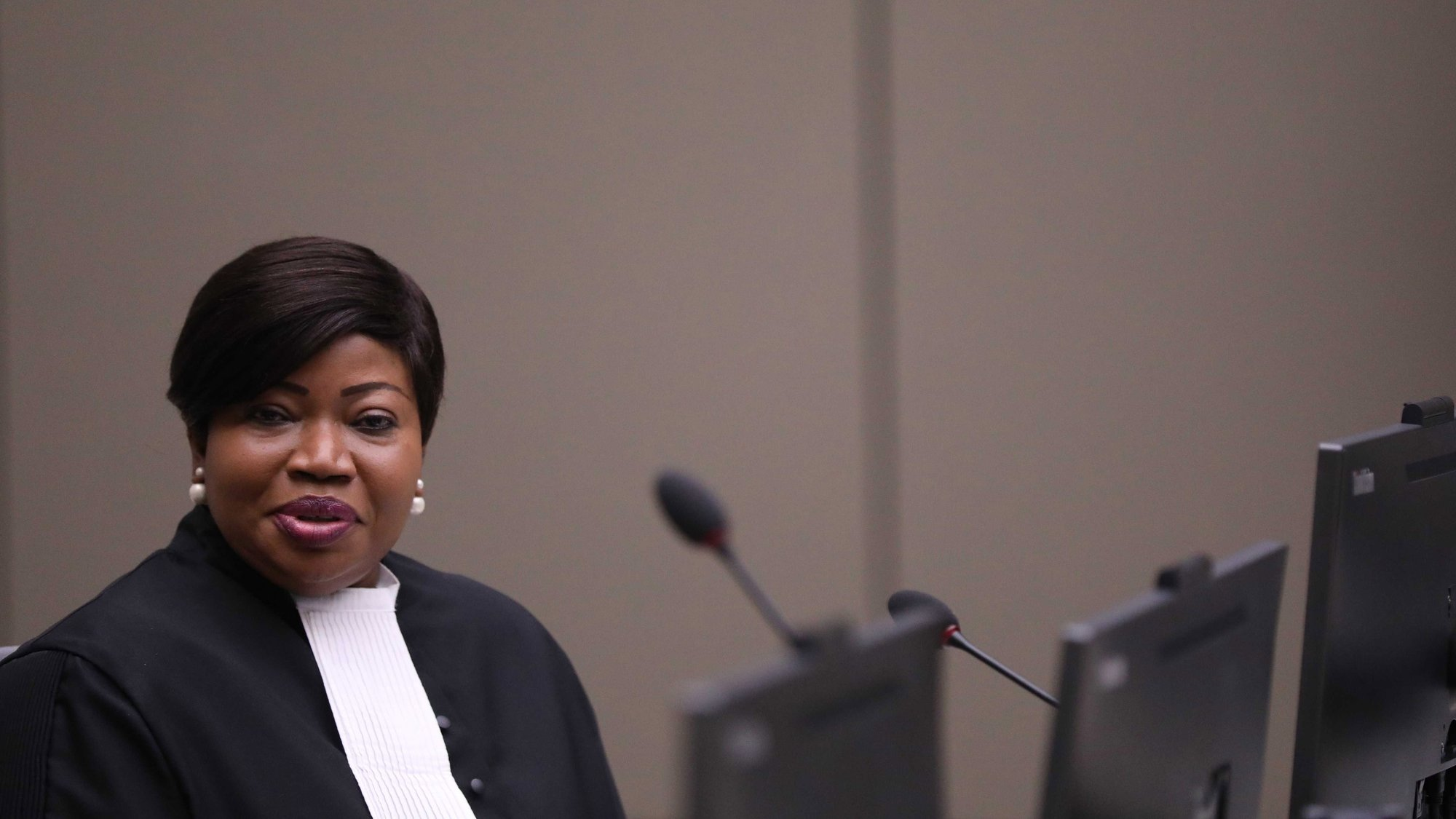 epa07703758 Prosecutor Fatou Bensouda appears in court during the trial of alleged Malian Islamist militant Al-Hassan Ag Abdoul Aziz Ag Mohamed Ag Mahmoud (not pictured), in the courtroom of the International Criminal Court (ICC) during his trial in the Hague, the Netherlands, 08 July 2019. He is charged with crimes against humanity and war crimes allegedly committed in Timbuktu.  EPA/EVA PLEVIER / POOL