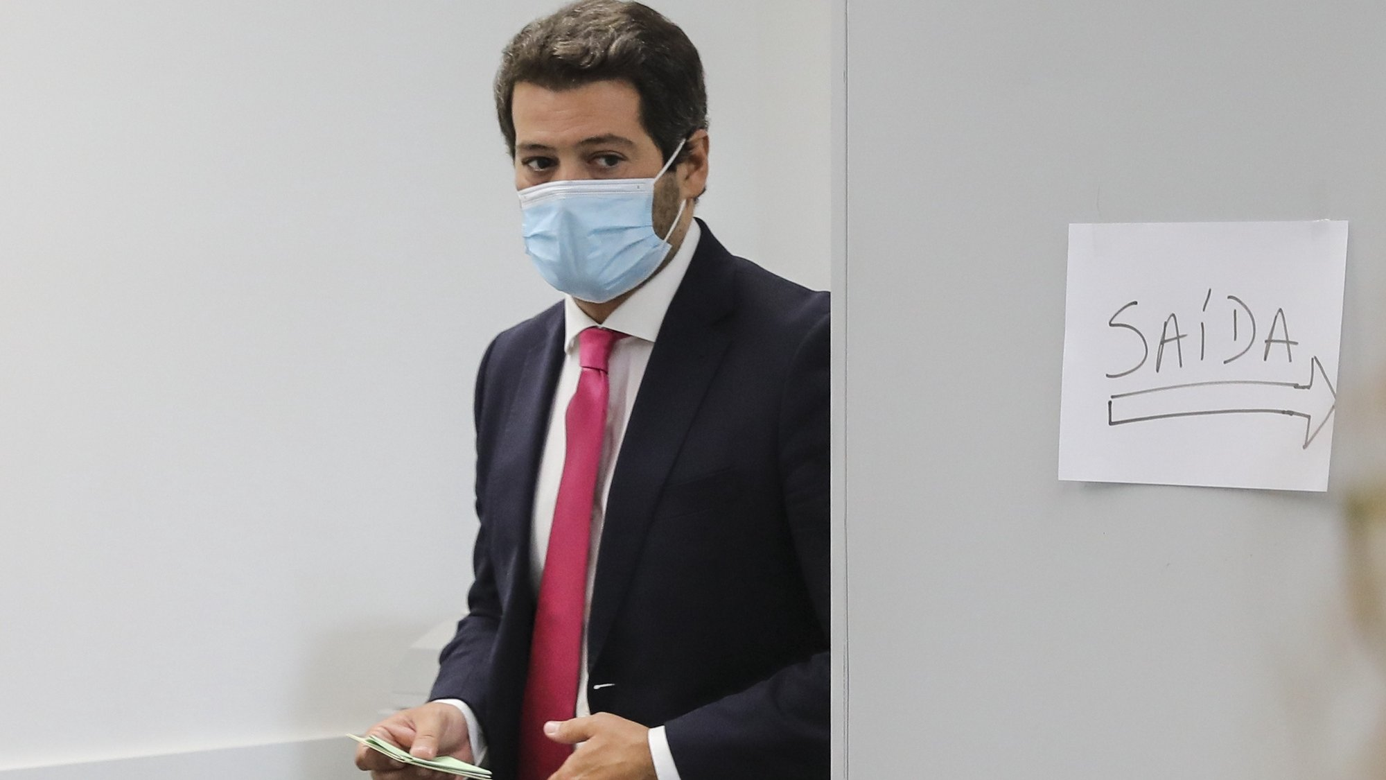 Portuguese national conservative, right-wing populist political party Chega leader André Ventura voting for local elections 26 septeber 2021 in Lisbon. More than 9.3 million electors can vote in the local elections in Portugal. MIGUEL A. LOPES LUSA