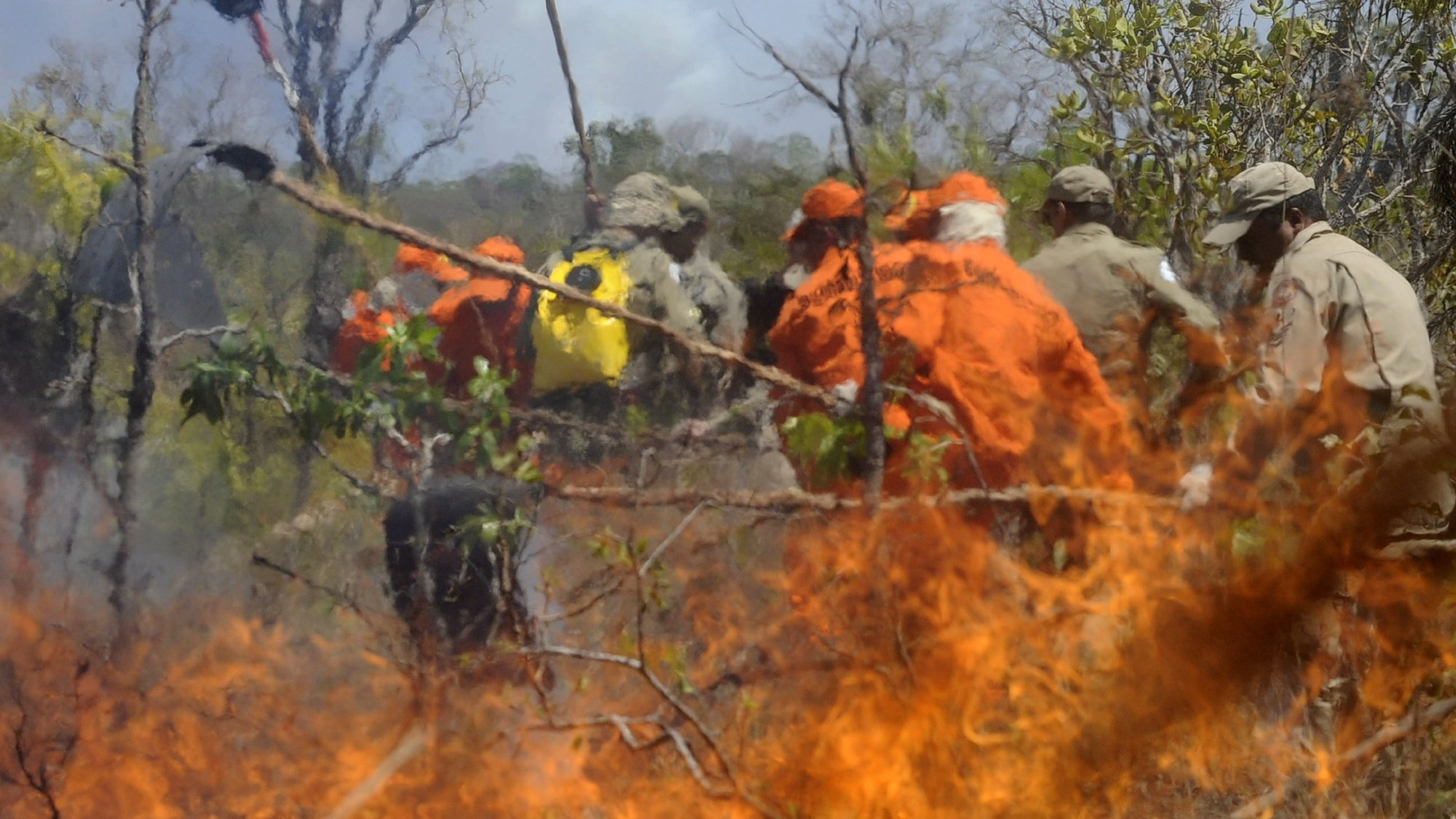 epa02346760 Firemen try to extinguish the wildfire in the National Park of Brasilia also known as 'Agua Mineral' in Brasilia, Brazil, 20 September 2010. More than 200 firemen an inhabitants of the region try to control the fire, the biggest in the last three years in Brasilia.  EPA/FERNANDO BIZERRA JR