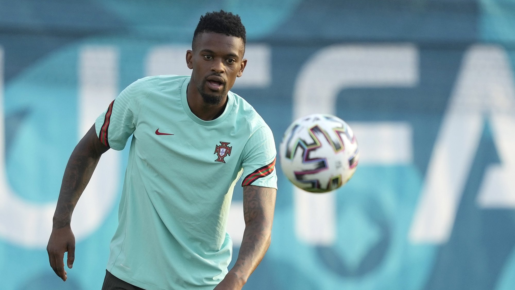Portugal´s national soccer team players Nélson Semedo, during a training session at the Illovszky Rudolf Stadium, Hungay, 22 June 2021. Portugal will face France in their UEFA EURO 2020 group F round soccer match on 23 June 2021. HUGO DELGADO/LUSA