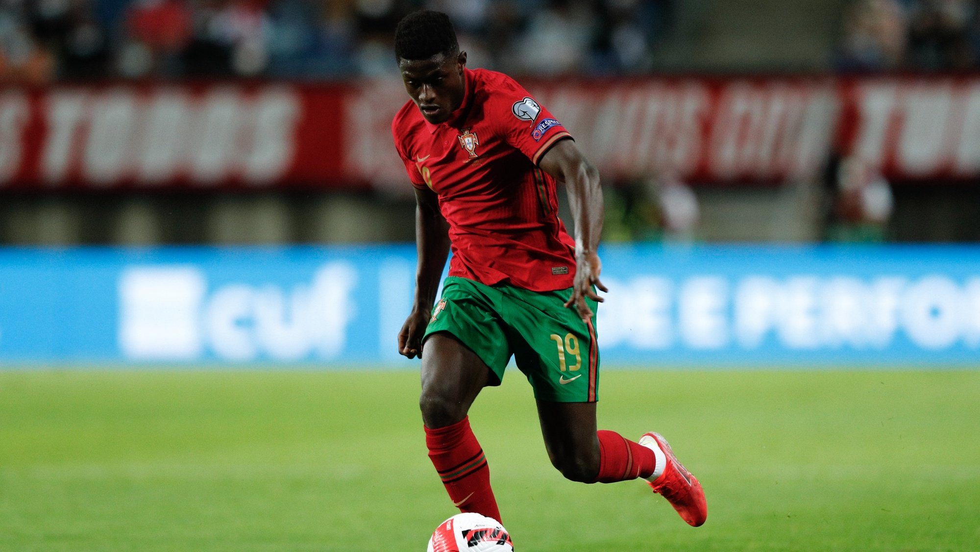 Nuno Mendes, of Portugal in action during the FIFA World Cup  Qatar 2022 group A soccer match between Portugal and Ireland held at Algarve stadium in Faro, south of Portugal,  01 September  2021.  Cristiano Ronaldo is now the best scorer of all times in terms of national teams. ANTONIO COTRIM/LUSA