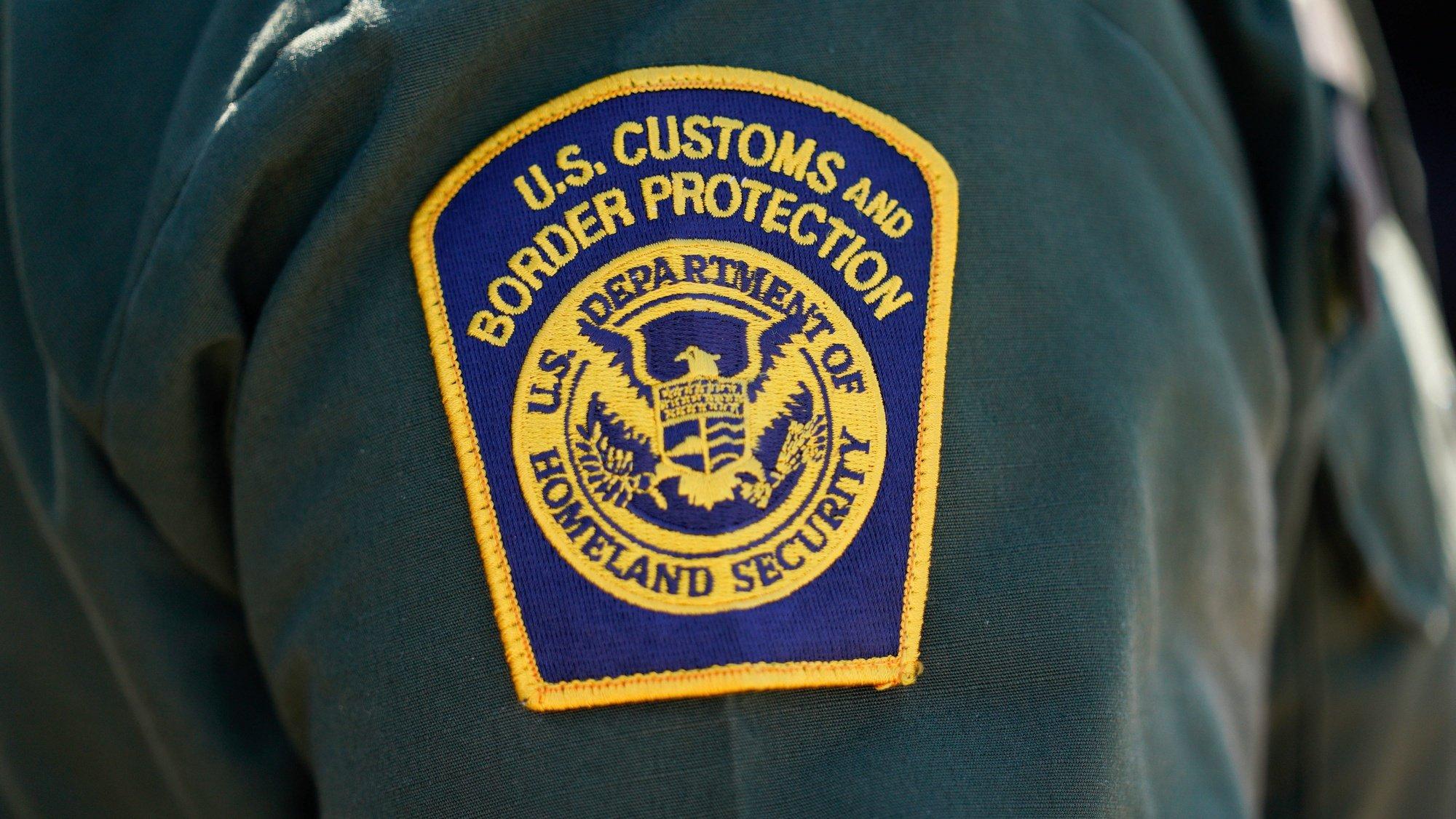epa09301353 Badge of an El Paso area patrol officer during US Vice President Kamala Harris's visit to the El Paso Border Patrol Station in El Paso, Texas, USA, 25 June 2021.  EPA/YURI GRIPAS / POOL