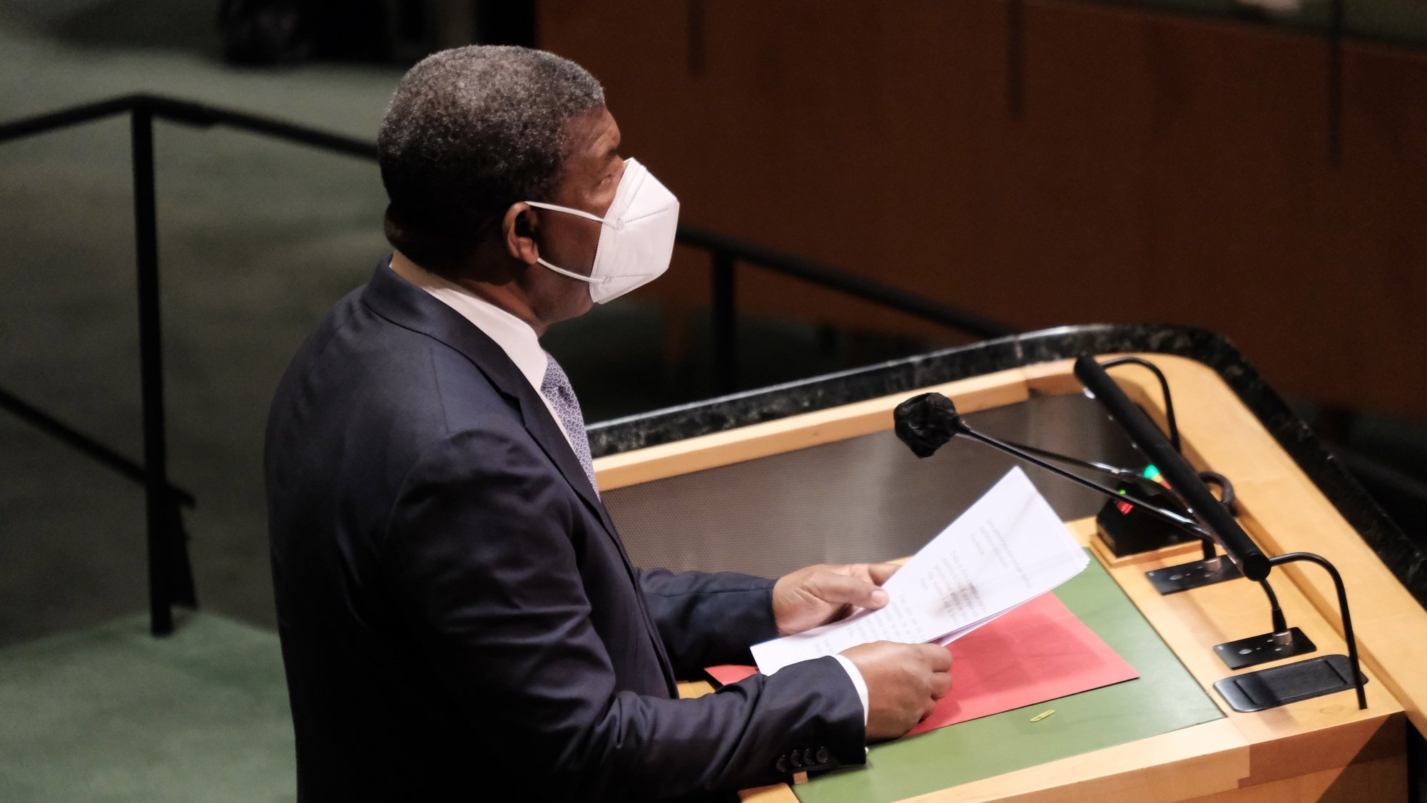 epa09483392 President of Angola Joao Lourenco speaks during the 76th Session of the General Assembly at UN Headquarters in New York City, New York, USA, 23 September 2021.  EPA/SPENCER PLATT / POOL