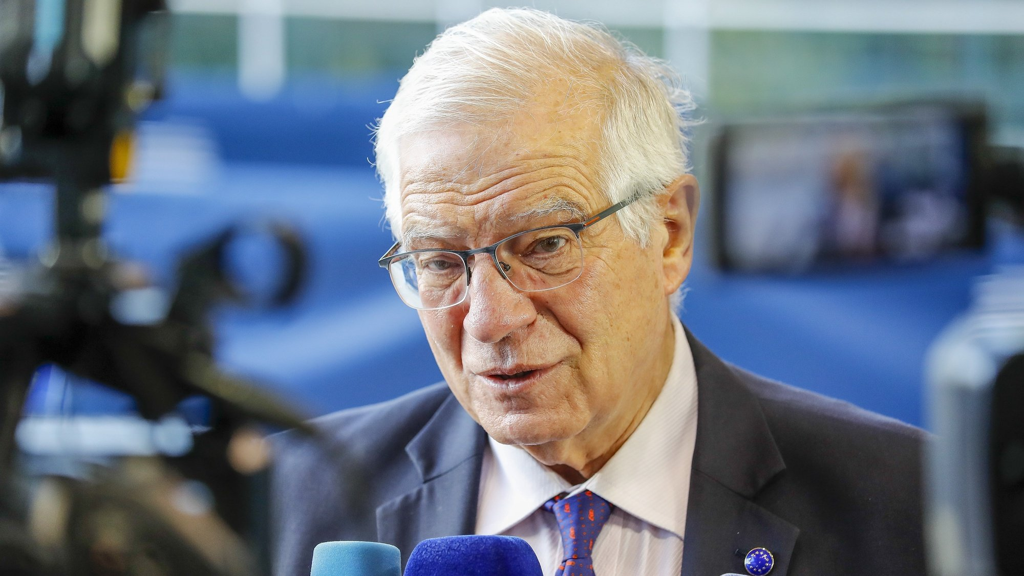 epa09529674 High Representative of the Union for Foreign Affairs and Security Policy, Vice President of the European Commission Josep Borrell speaks to the media prior to a EU Foreign Affairs Council meeting in Luxembourg, 18 October 2021. The Council will discuss the EU's approach to the Gulf region, EU relations with the Eastern Partnership (EaP), as well as on Ethiopia, focusing on humanitarian aspects in light of the latest developments in the country, and on the upcoming general elections in Nicaragua,  EPA/JULIEN WARNAND