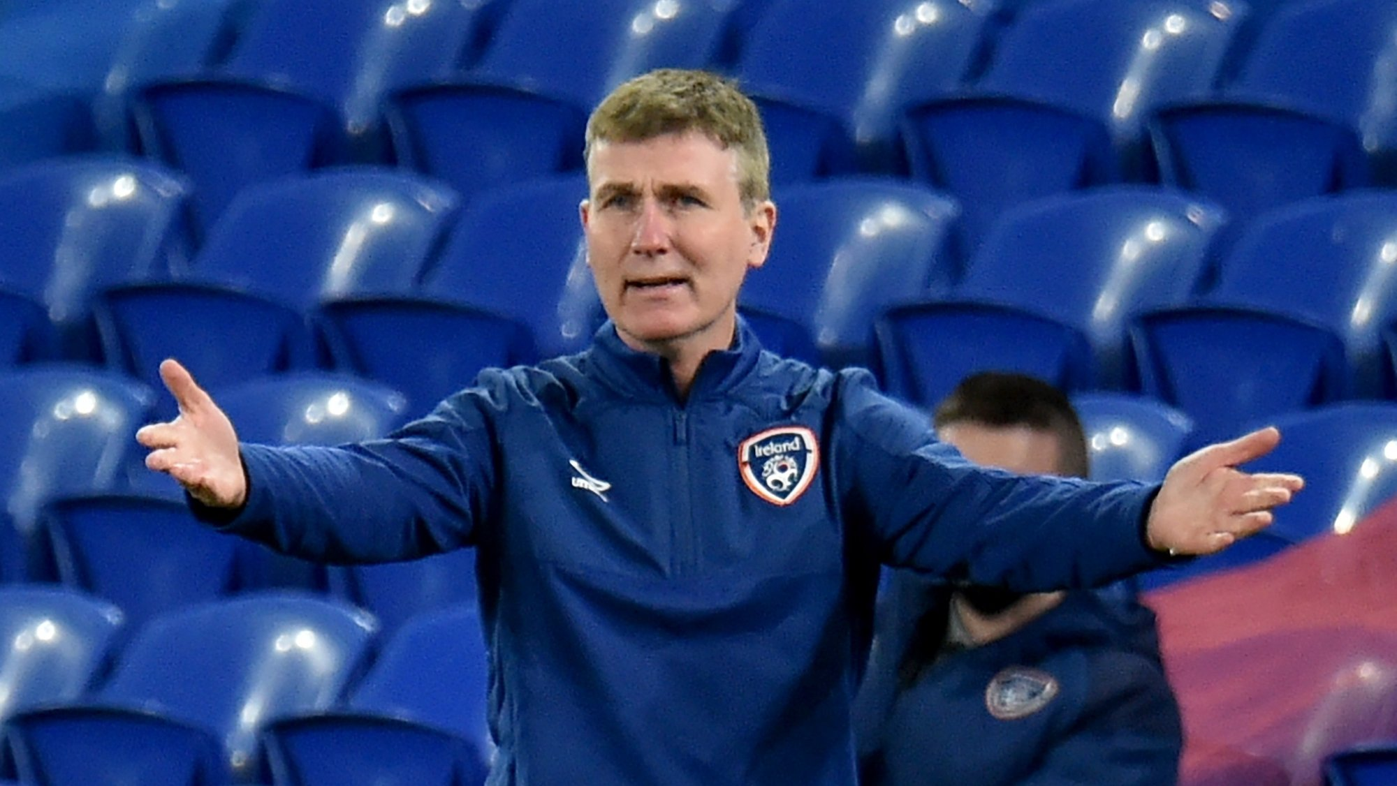 epa08822705 Ireland's manager Stephen Kenny during the UEFA Nations League soccer match between Wales and Ireland at the Cardiff City stadium in Cardiff, Britain, 15 November 2020.  EPA/PETER POWELL