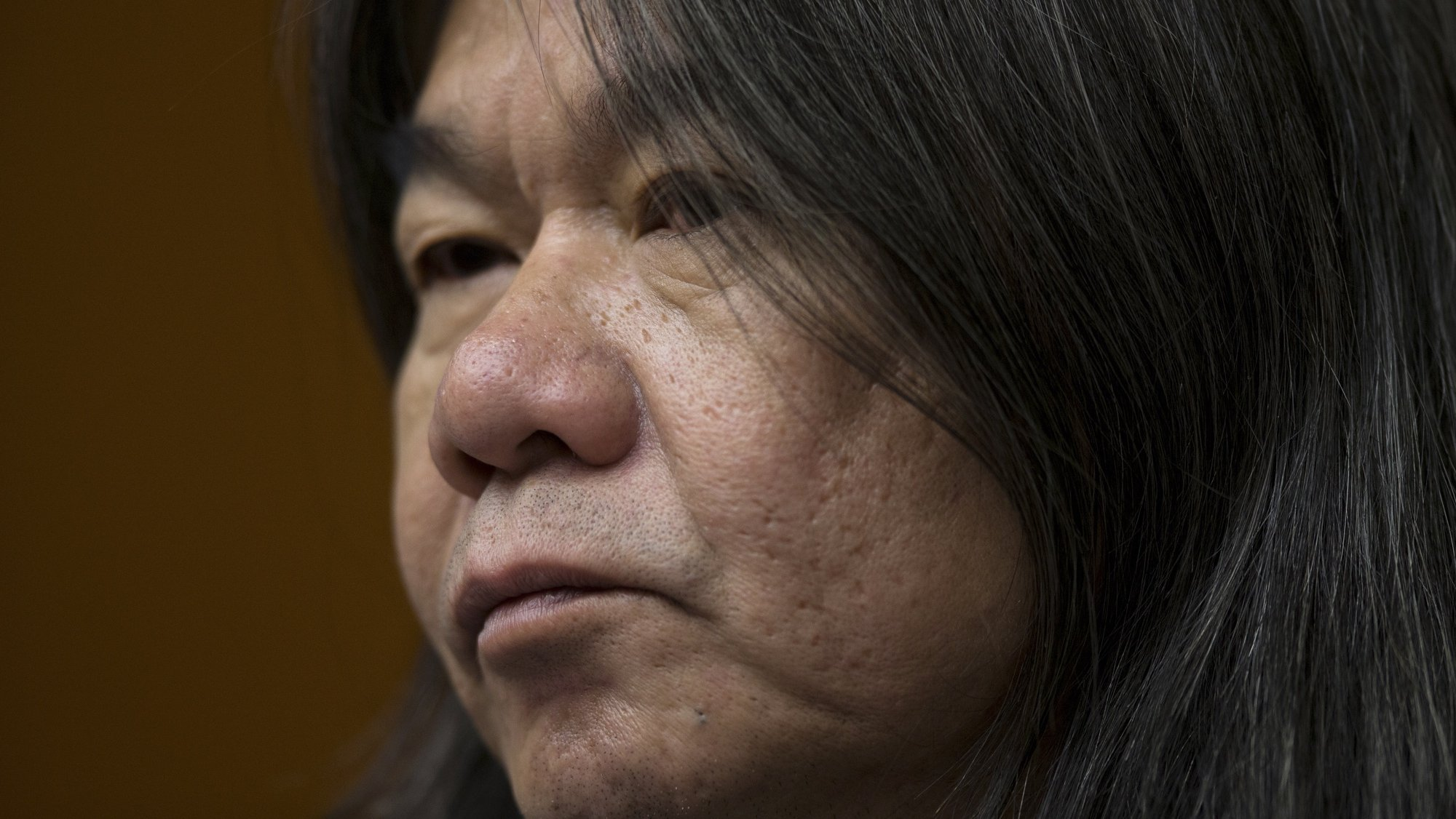 epa09439984 (FILE) - Leung Kwok-hung, also known as Long Hair, a pro-democracy lawmaker and founder of the League of Social Democrats, speaks during a press conference at the Legislative Council in Hong Kong, China, 08 February 2017 (reissued 01 September 2021). Seven prominent pro-democracy activists, Leung Kwok-hung, were sentenced on 01 September to up to 16 months in jail for their role in an unauthorized assembly in October 2019.  EPA/JEROME FAVRE *** Local Caption *** 56524242